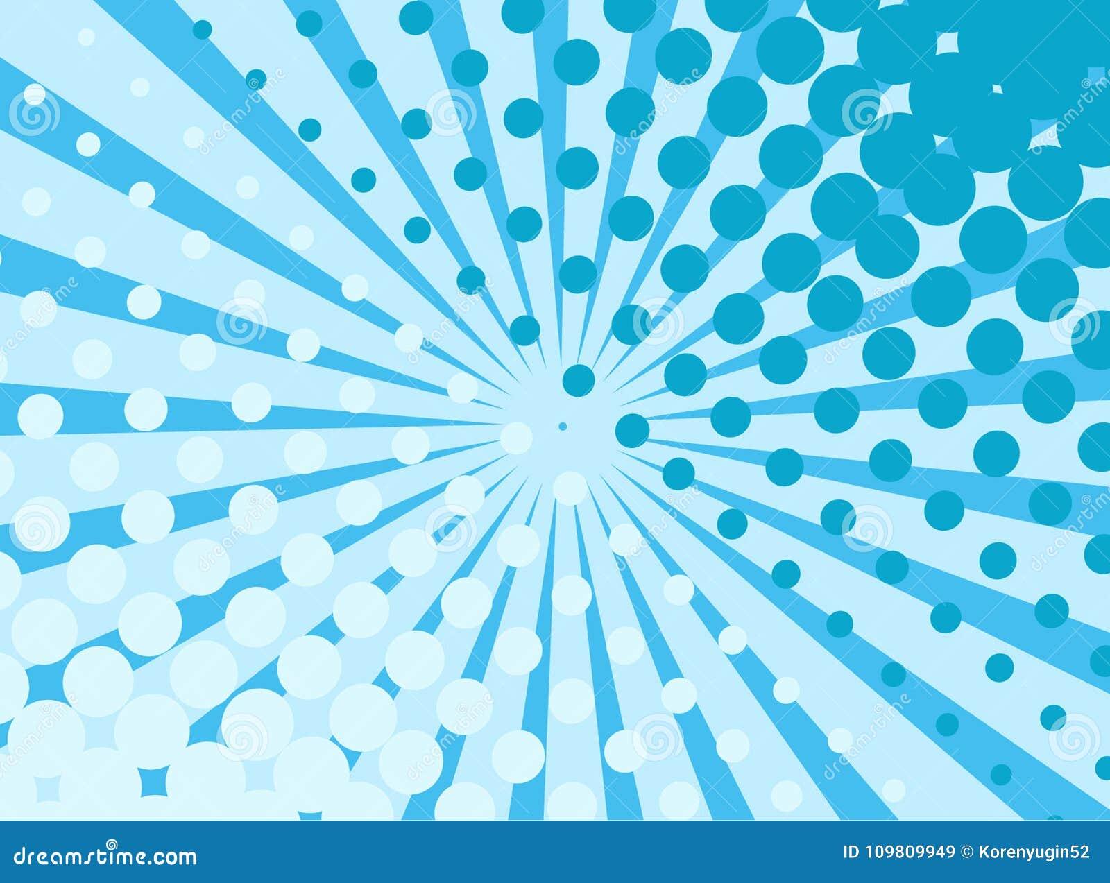 Fond bleu d art de bruit rétro avec les rayons et les points de explosion comiques
