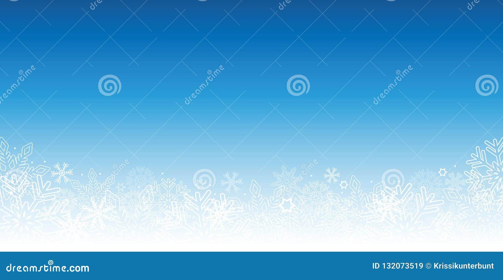 Fond bleu d hiver de Milou avec des flocons de neige