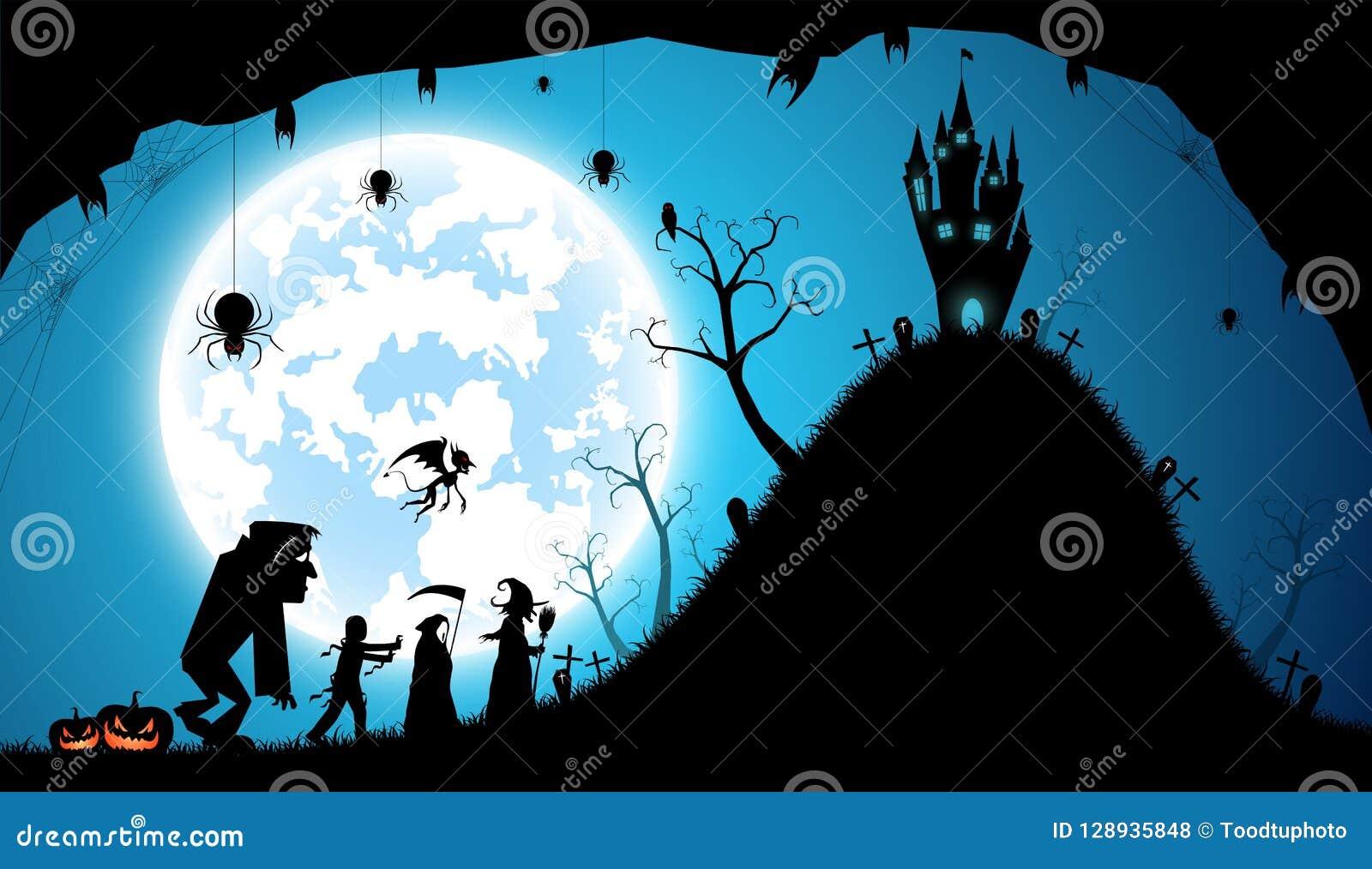 Fond bleu d illustration, concept de Halloween de festival