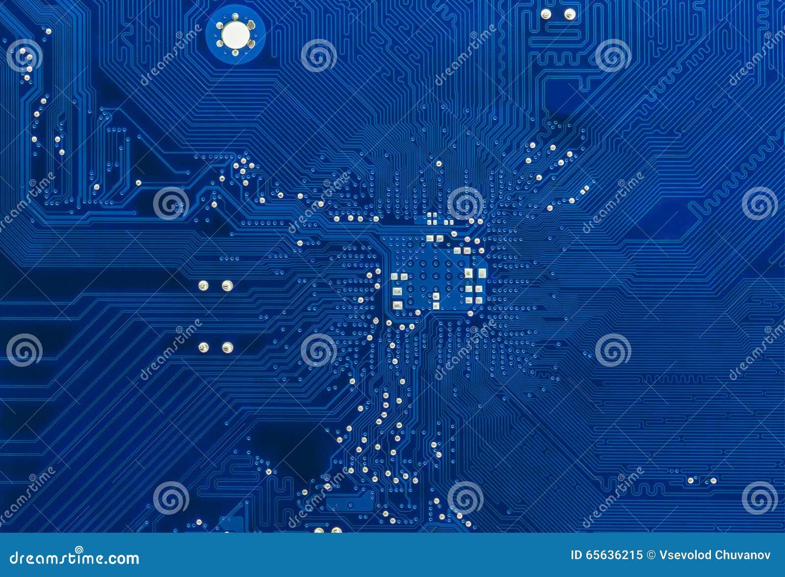 Fond bleu de carte de carte mère d ordinateur
