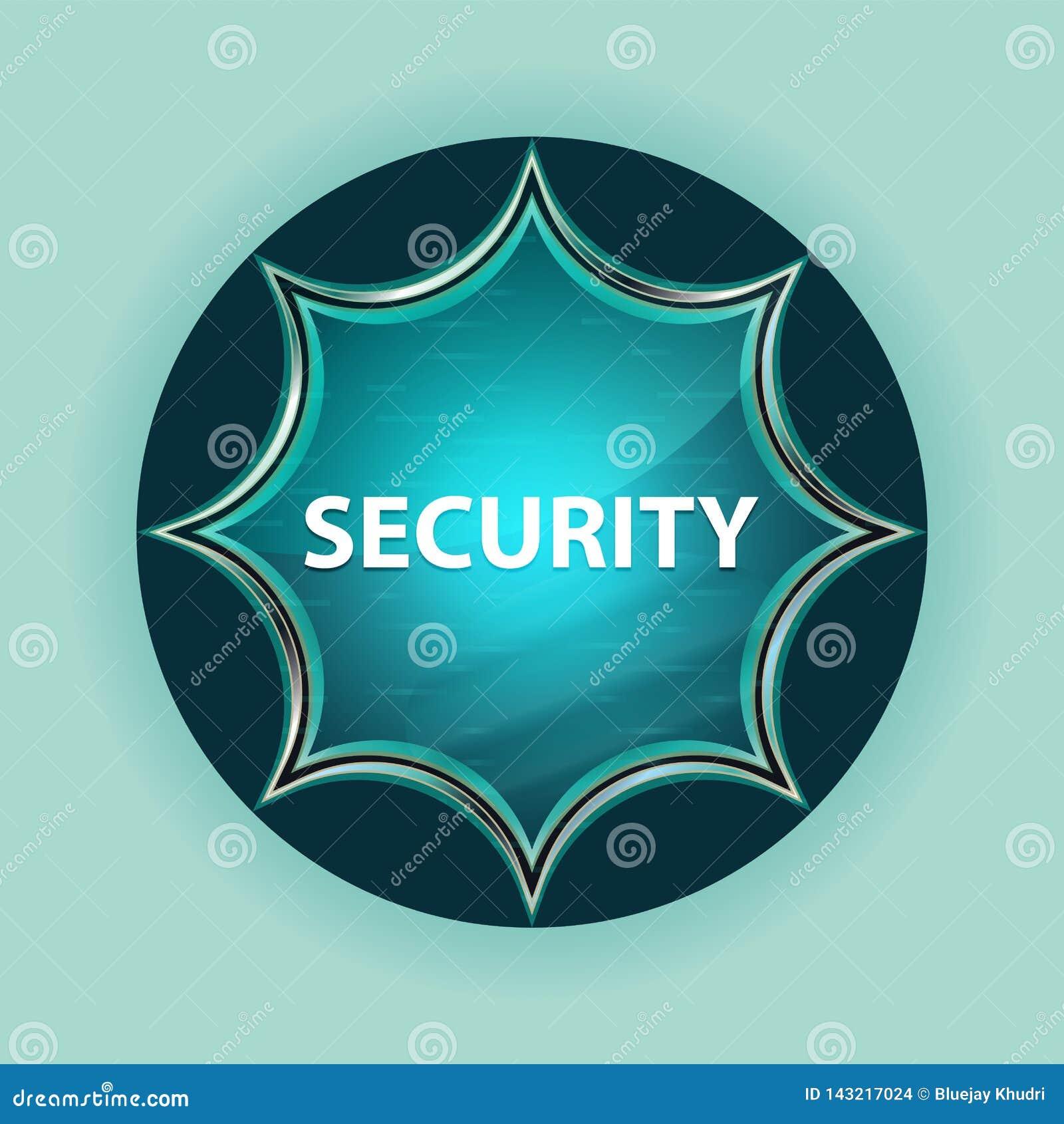 Fond bleu de bleu de ciel de bouton de rayon de soleil vitreux magique de sécurité