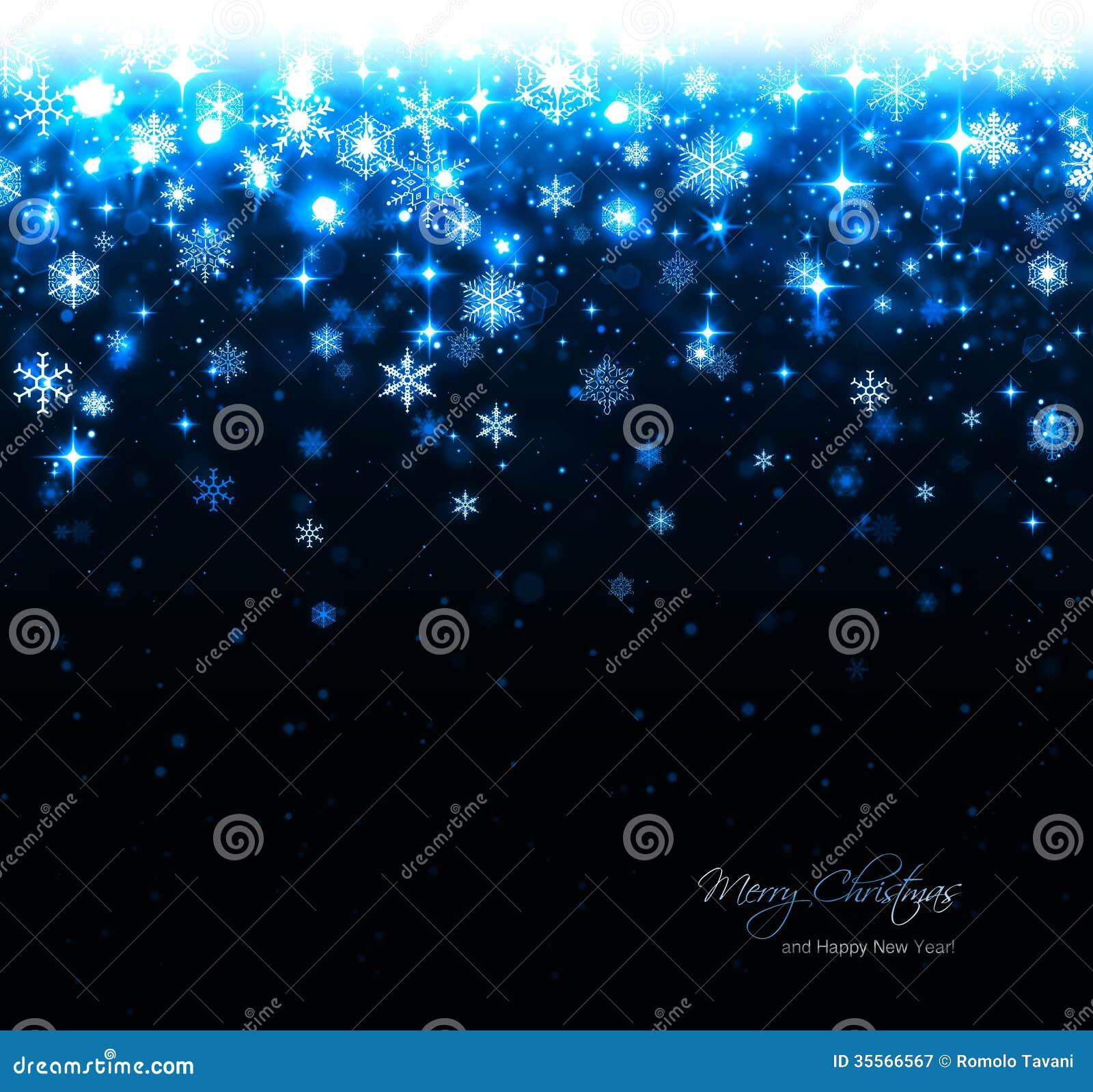 Fond bleu de Noël avec des étoiles et des flocons de neige