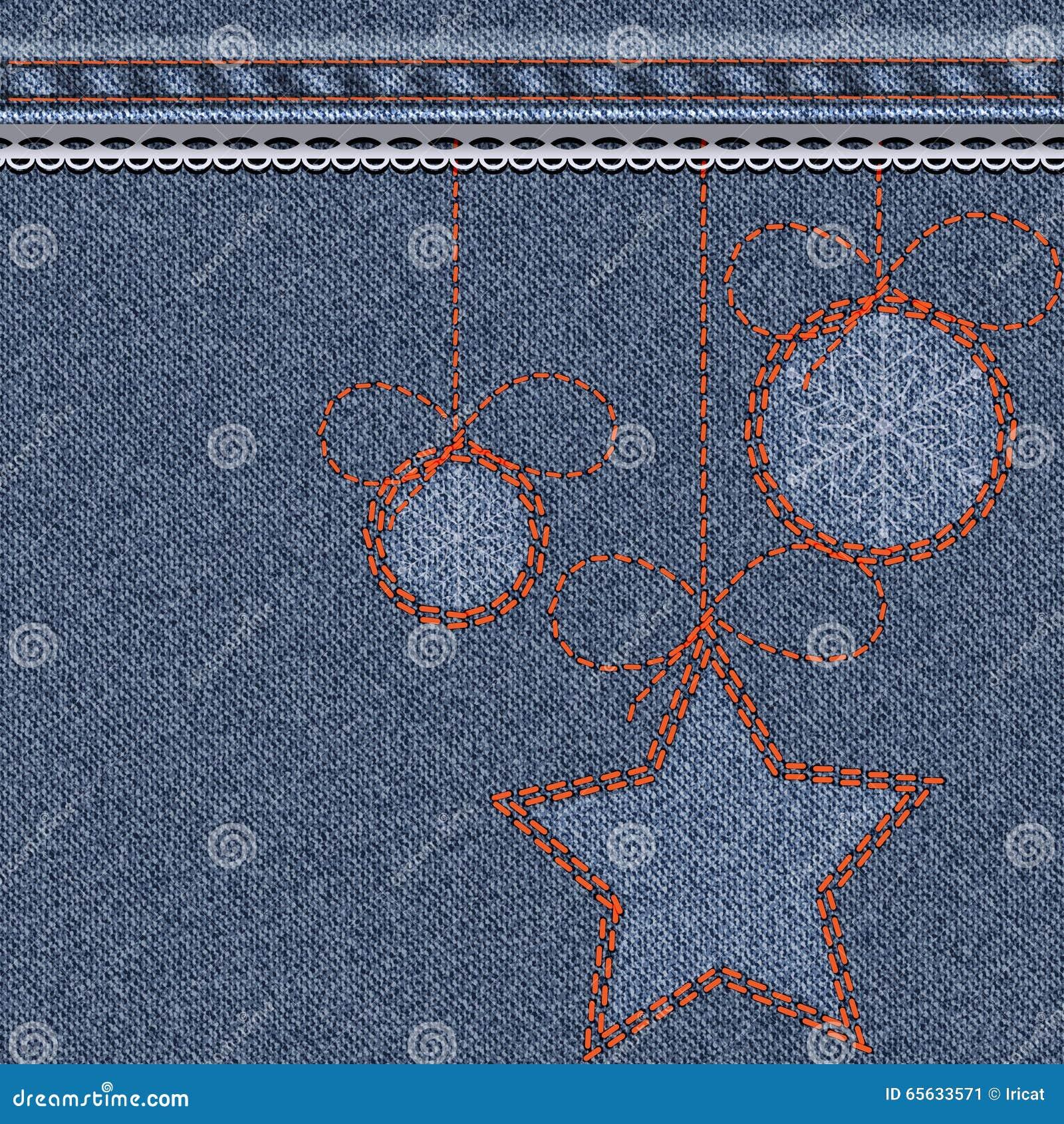 Fond bleu de Noël avec la texture, la broderie et la dentelle de denim Boules de jouet de Noël avec des flocons de neige et des é