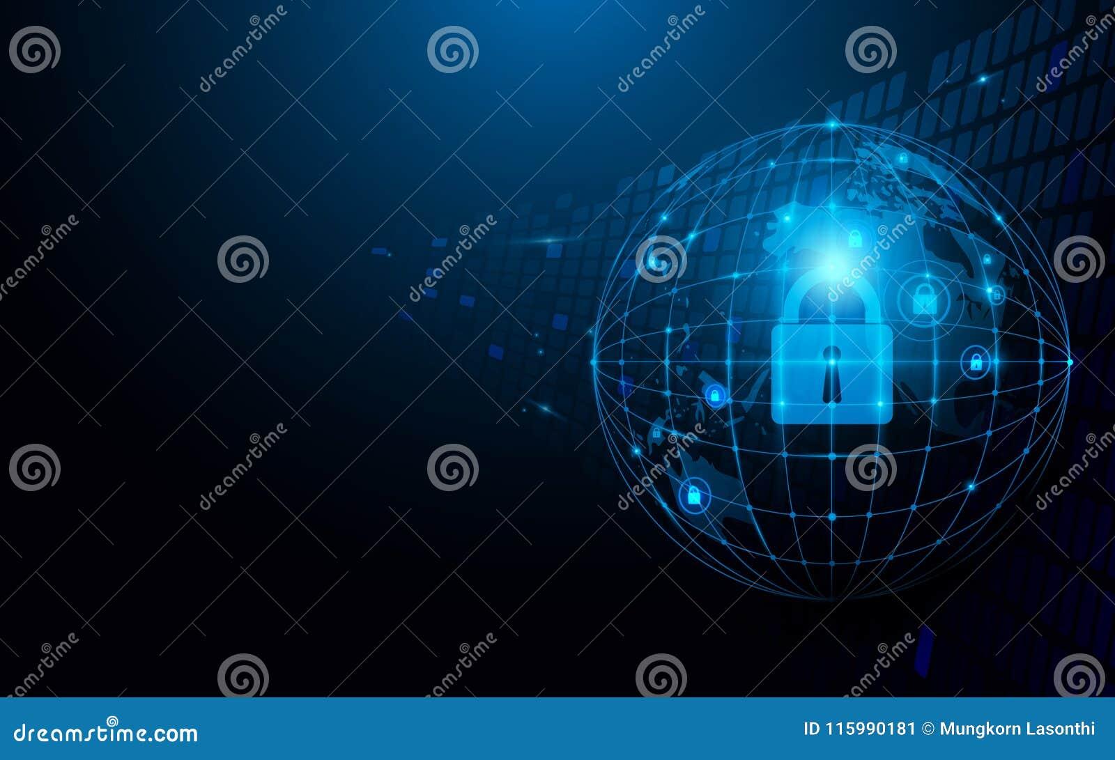 Fond bleu-foncé abstrait global et de réseau et de sécurité de technologie de concept futuriste de connexion