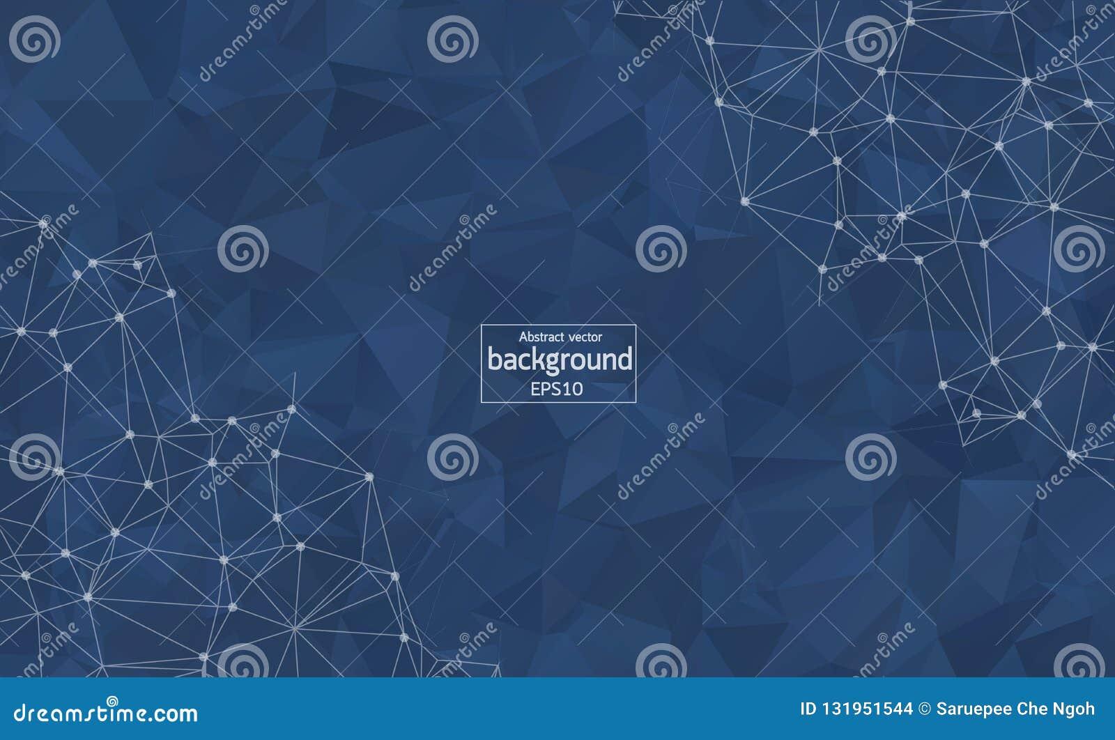 Fond bleu-foncé polygonal de résumé avec les points et les lignes reliés, structure de connexion, fond futuriste de hud, défectuo