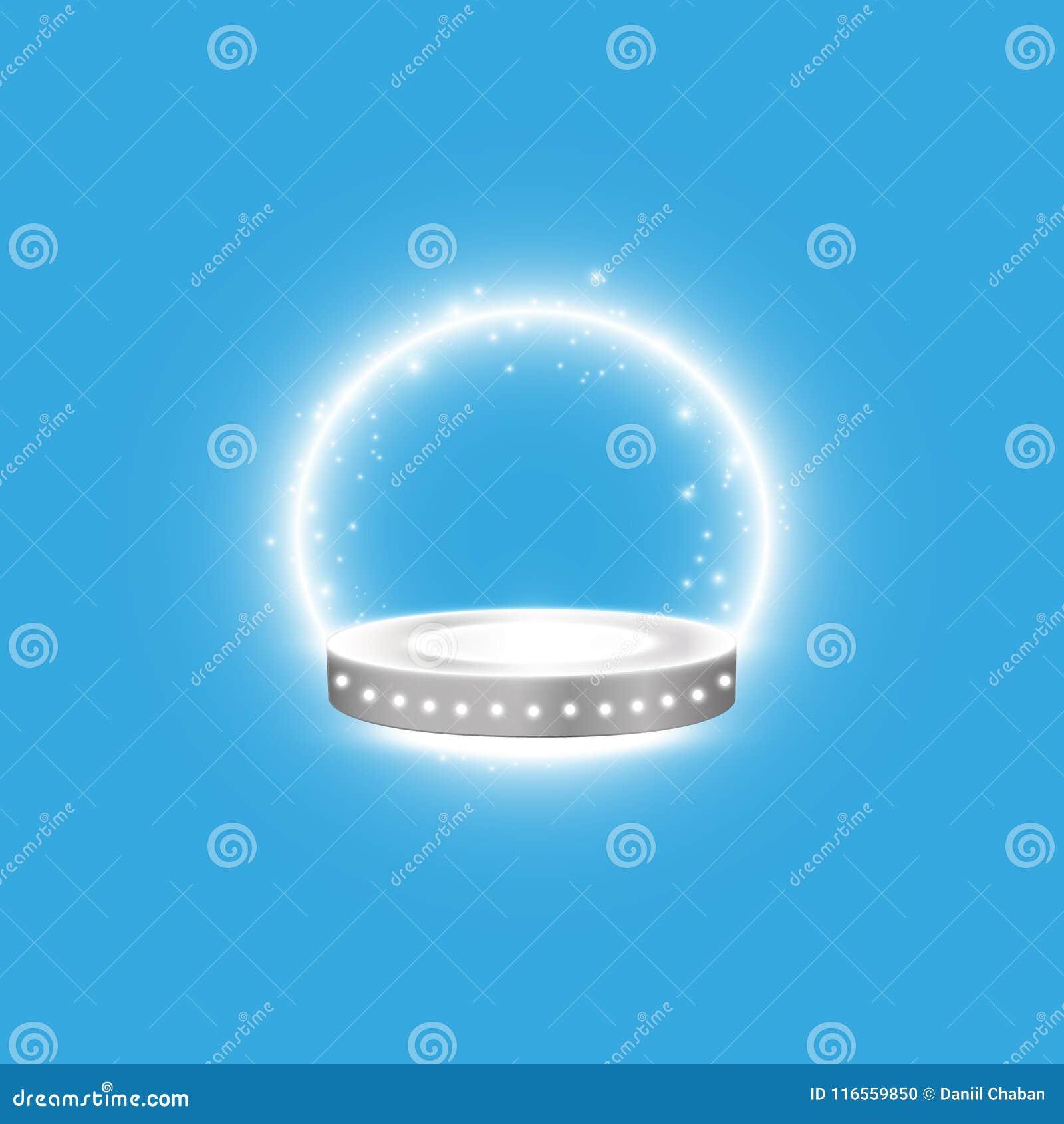 Fond brillant abstrait de podium avec des projecteurs Scène éclatante blanche Vous gagnez le luxe, le succès et la conception de