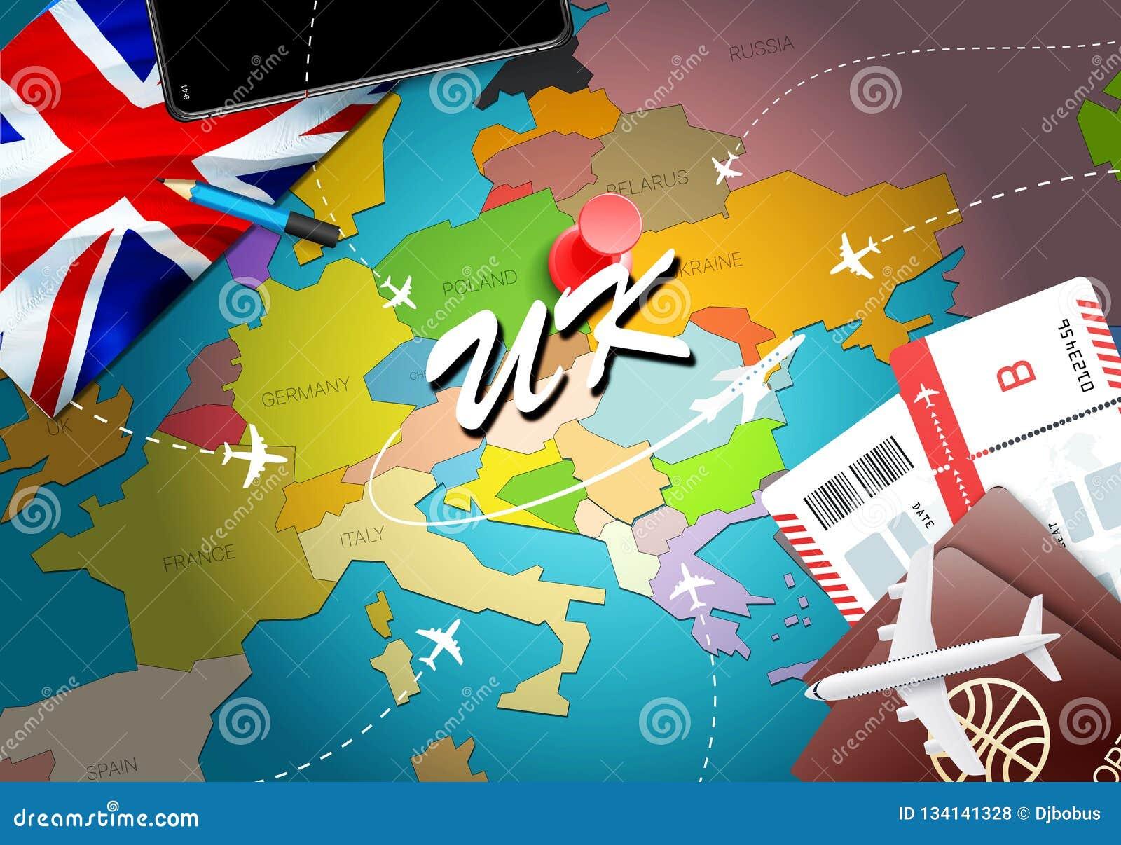 Fond BRITANNIQUE de carte de concept de voyage avec des avions, billets Voyage de visite et concept BRITANNIQUES de destination d