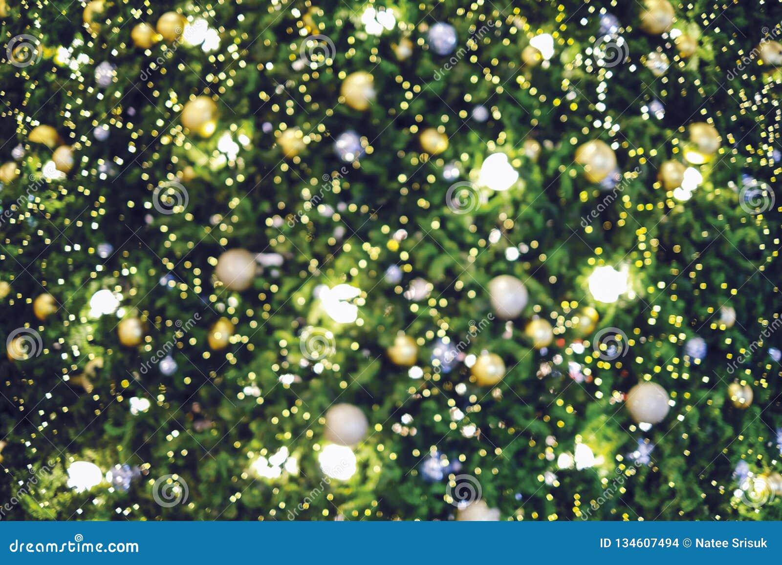 Fond brouillé abstrait d arbre de Noël avec la lumière de bokeh