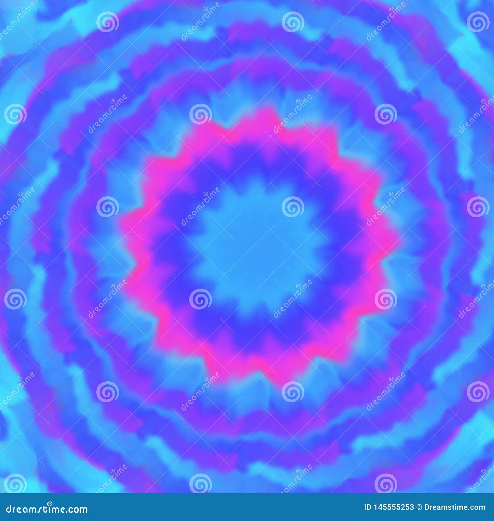 Fond brouillé bleu, pourpre et rose tiré par la main, style de mandala