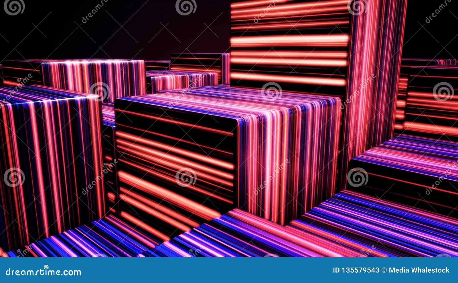 Fond coloré de lampe au néon de cubes, fond de cubes en LED La lumière UV, cubes au néon rougeoyants faits de lignes, moderne