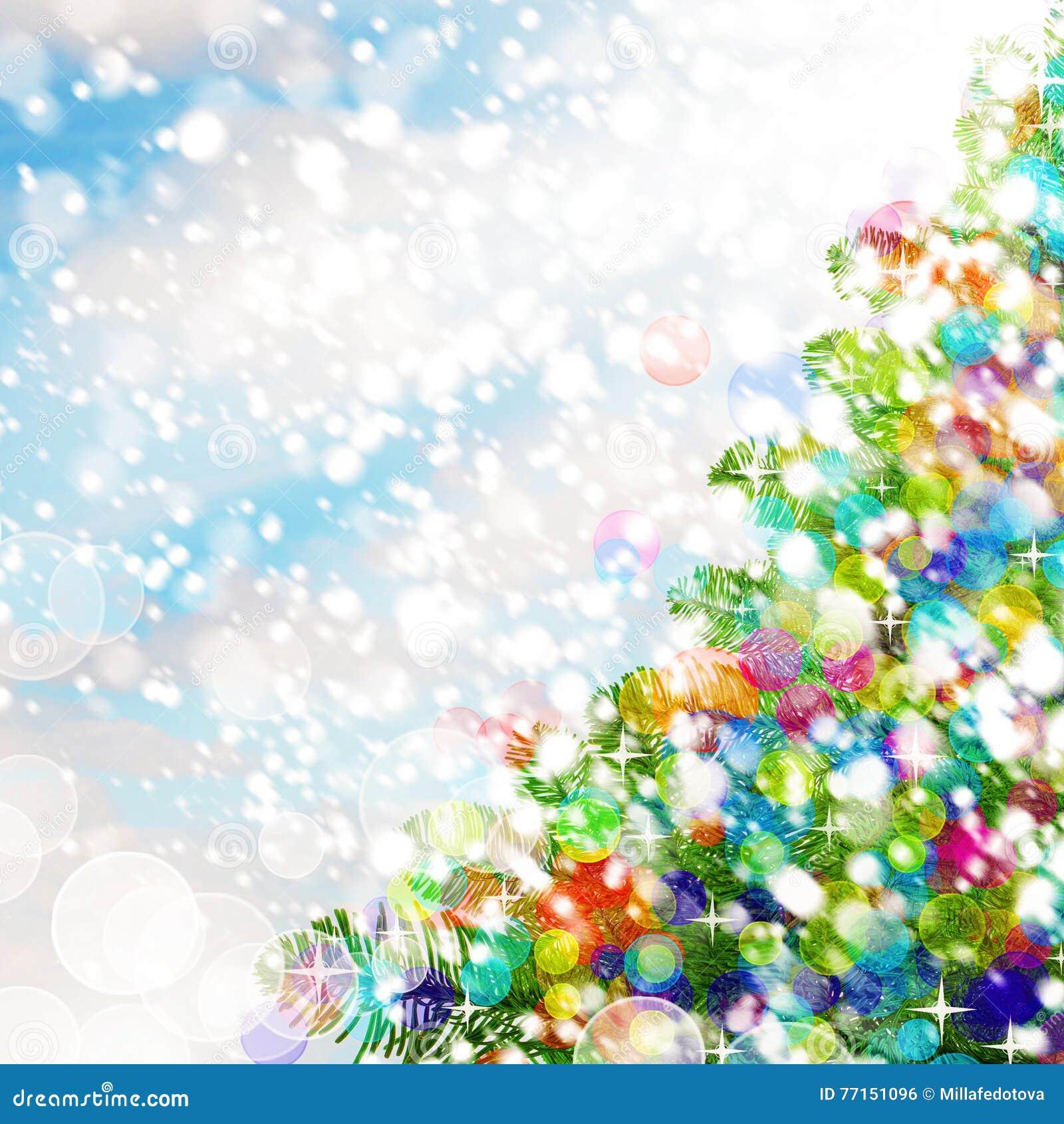 Fond coloré de Noël Arbre de Noël, neige et scintillements