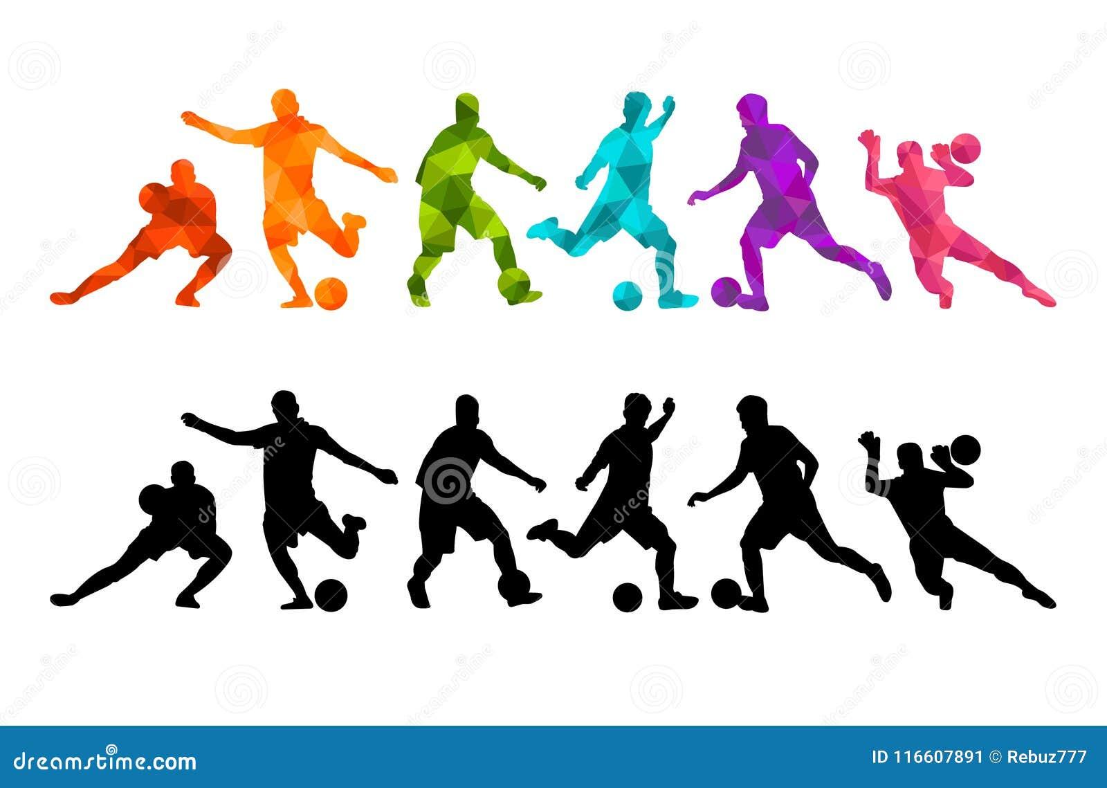 Fond coloré de silhouette de ballon de football de joueur de football Affiche coloful de carte de bannière de conception d illust