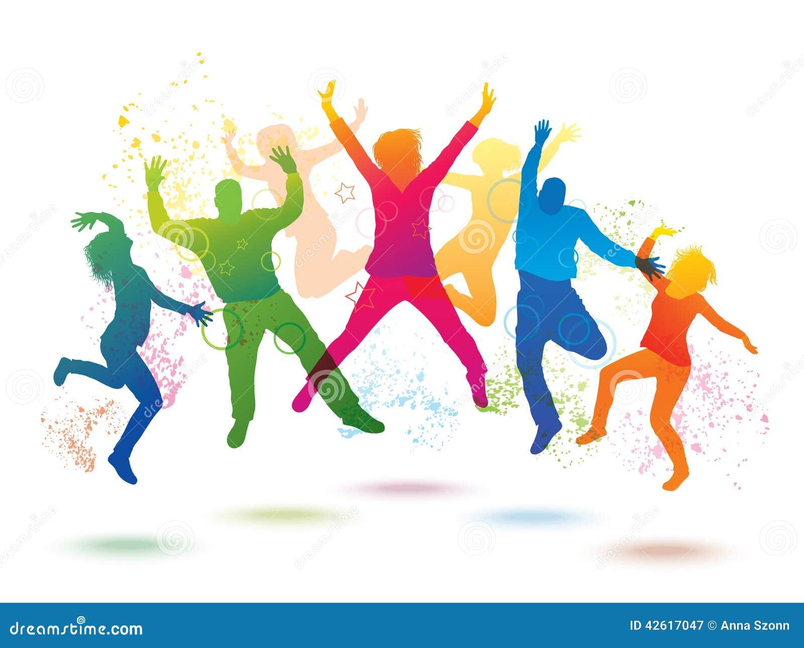 Paint Mural On Wall Fond Color 233 Avec Des Personnes De Danse Illustration Stock