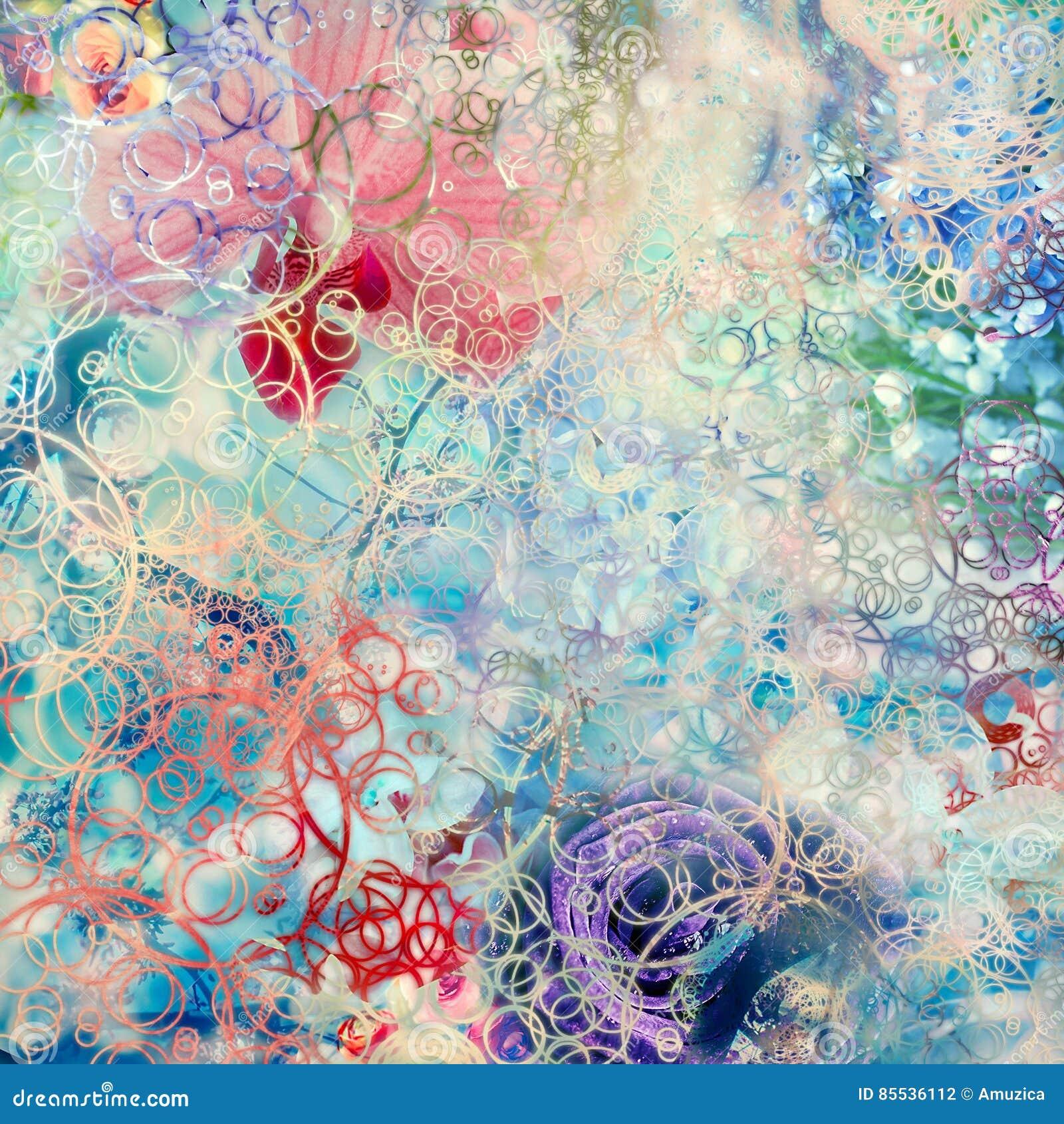 Fond créatif avec les éléments floraux et les différentes textures