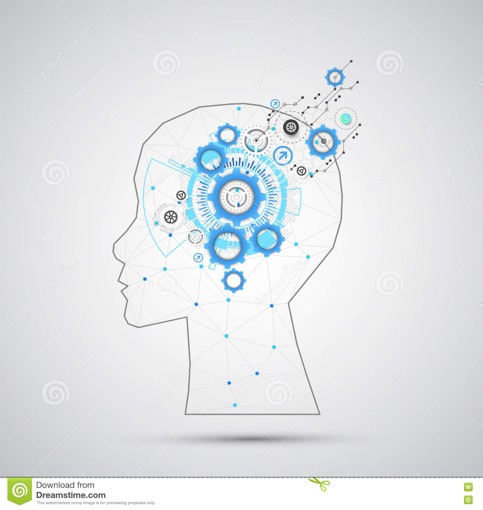 Fond créatif de concept de cerveau avec la grille triangulaire Artifici