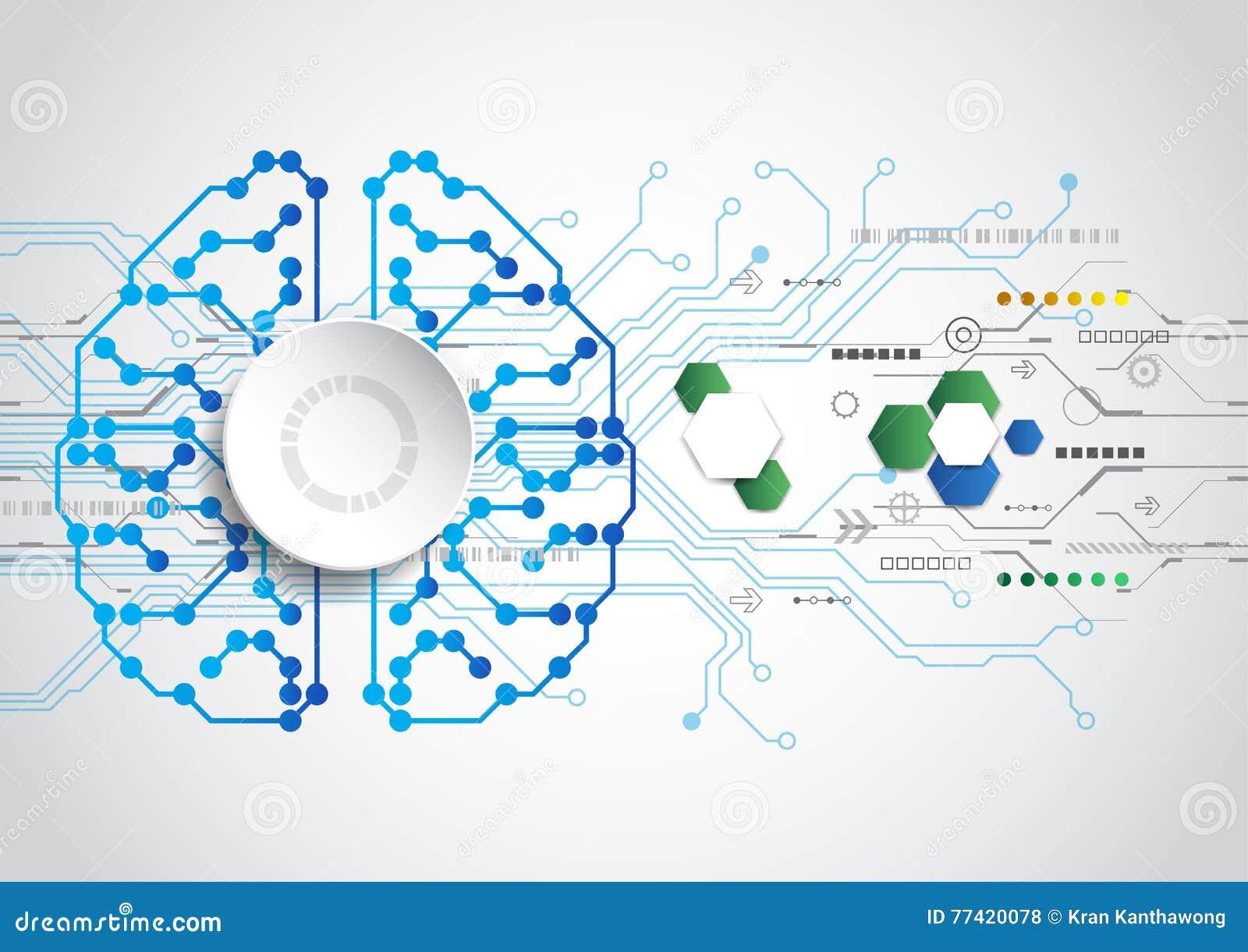 Fond créatif de concept de cerveau Concept d intelligence artificielle Illustration de la science de vecteur