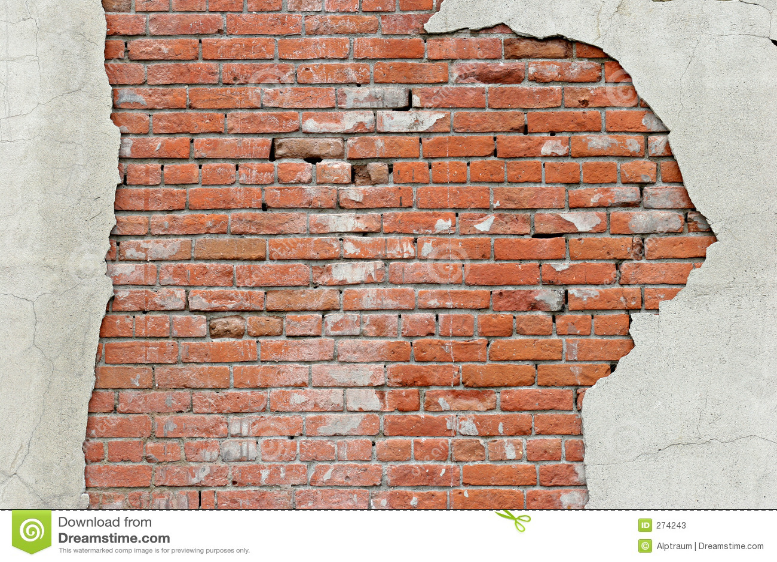 Fond déchiré de mur de briques