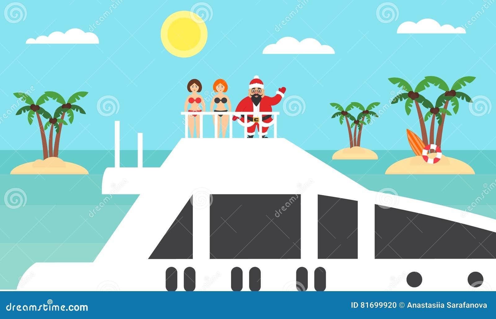 Fond d été - plage ensoleillée Mer, palmier et Asiatique Santa sur le yacht Filles dans des bikinis Joyeux Noël et an neuf Plat m