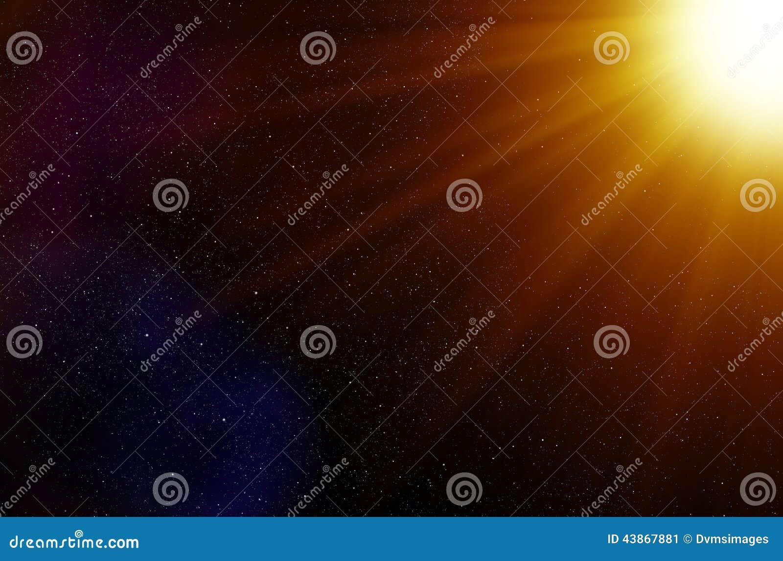 Fond d étoiles de l espace et de rayons légers