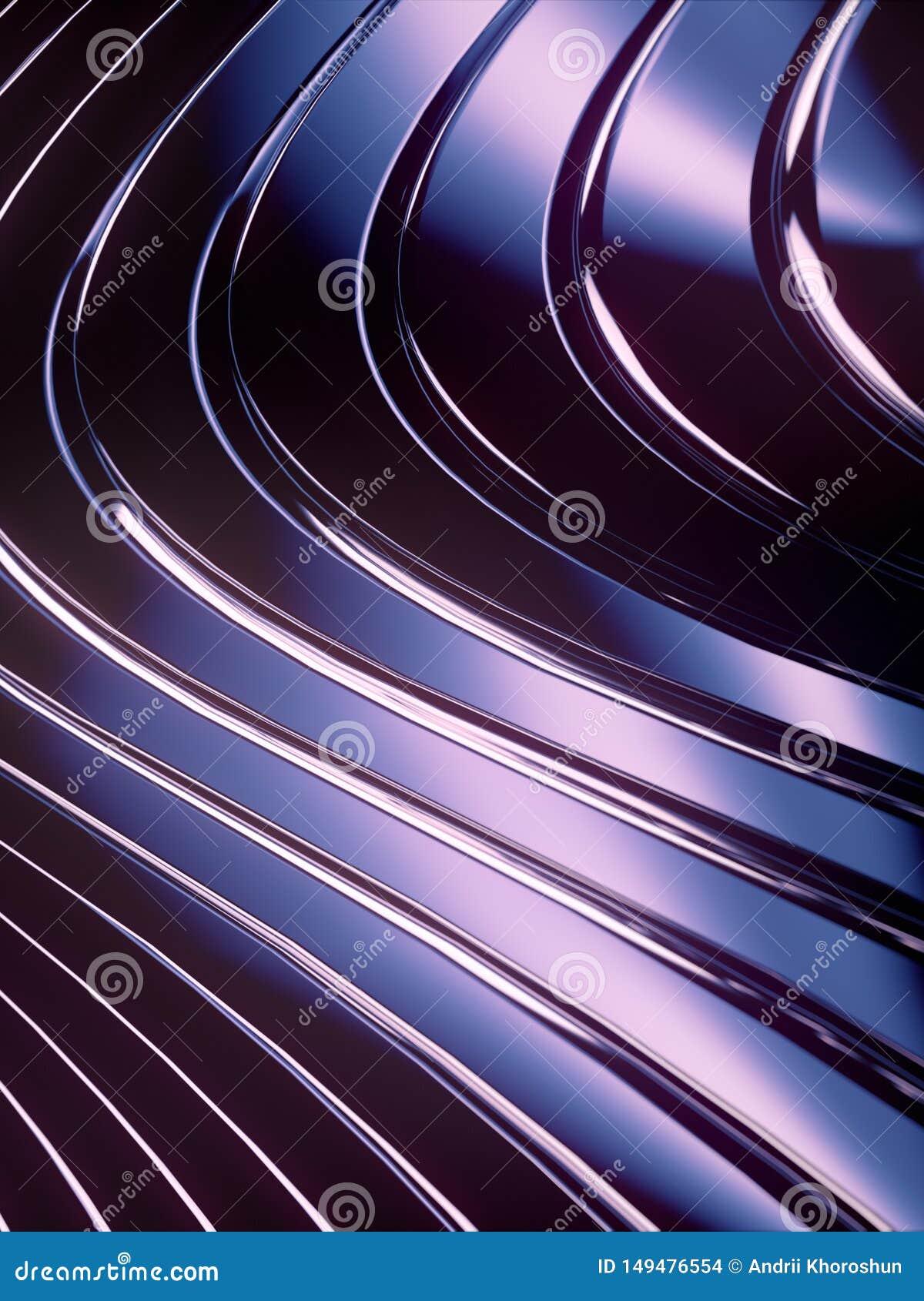 Fond d abrégé sur bande de vague Réflexions roses lumineuses sur la surface métallique foncée rendu 3d