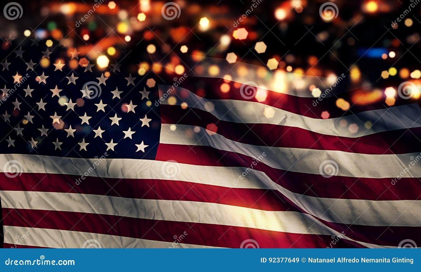 Fond d abrégé sur Bokeh de nuit de lumière de drapeau national des Etats-Unis Amérique