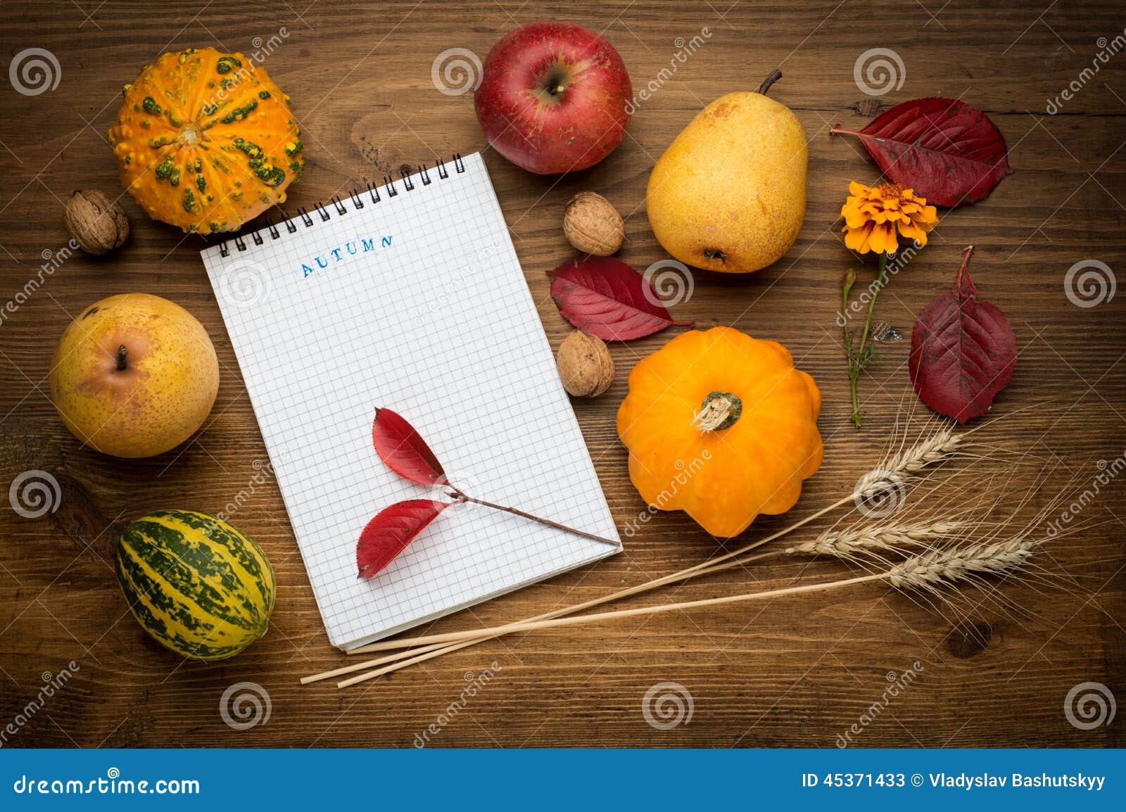 Fond d automne avec le carnet, agriculture