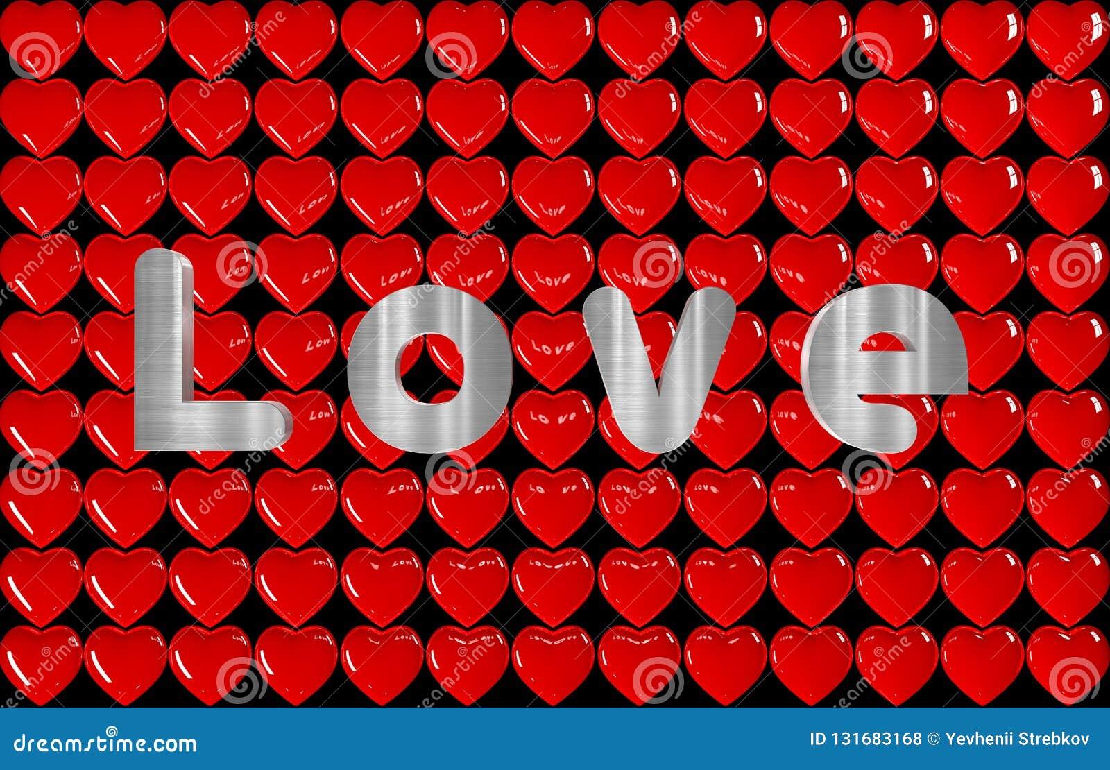Fond 3D de beaucoup de coeurs avec l AMOUR d inscription
