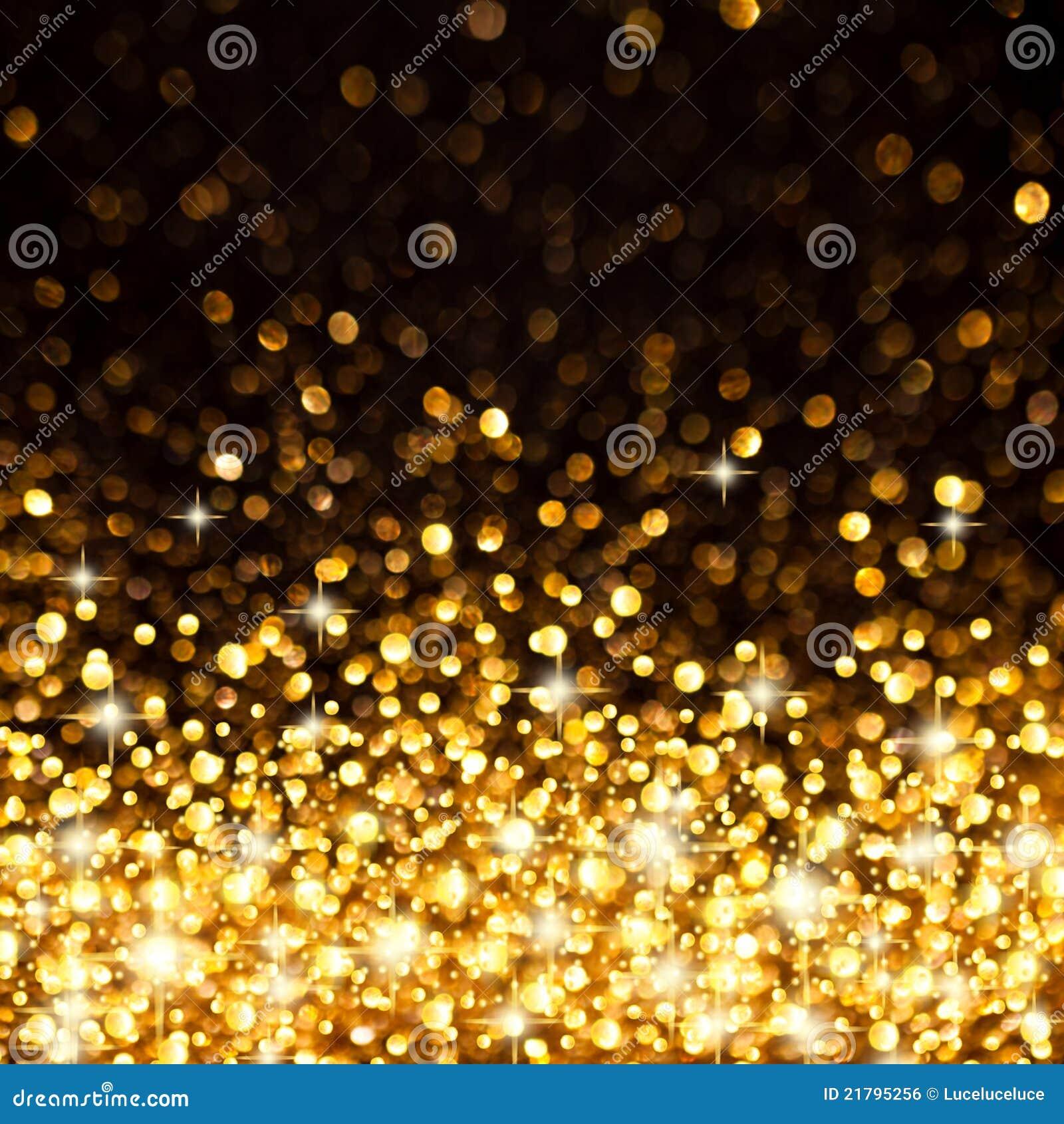 Fond d or de lumières de Noël