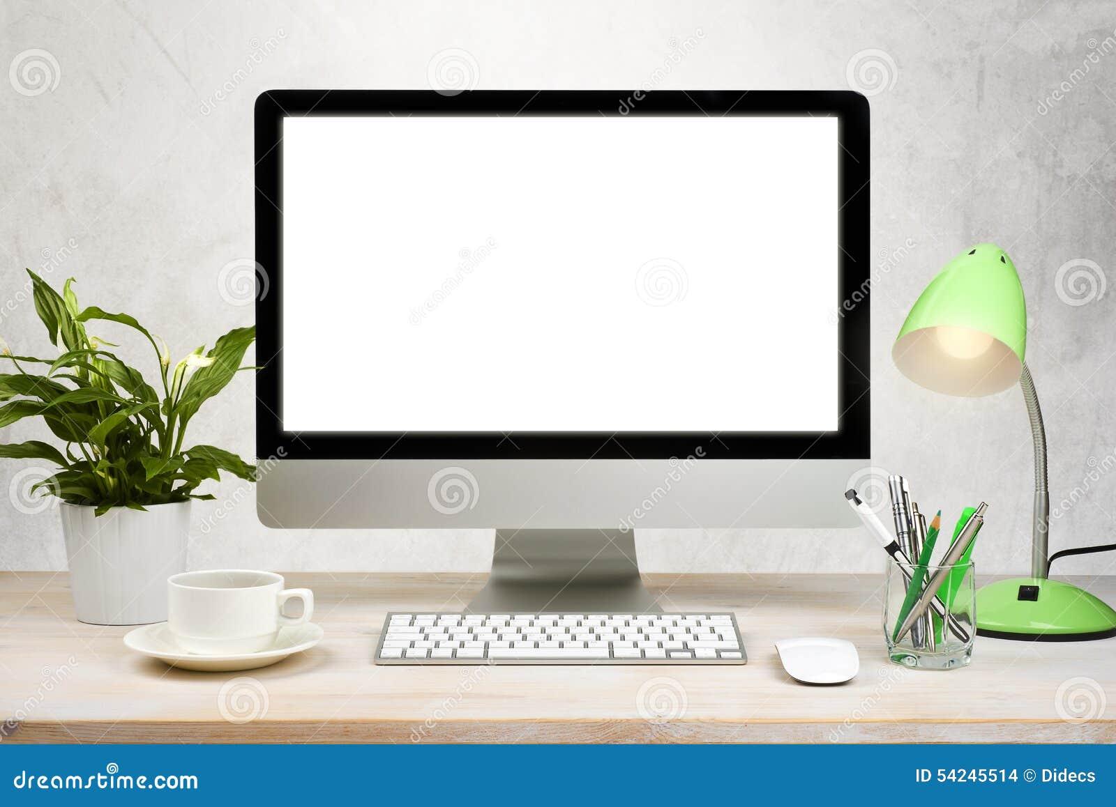fond d 39 espace de travail avec des accessoires de pc de bureau et de bureau sur la table photo. Black Bedroom Furniture Sets. Home Design Ideas