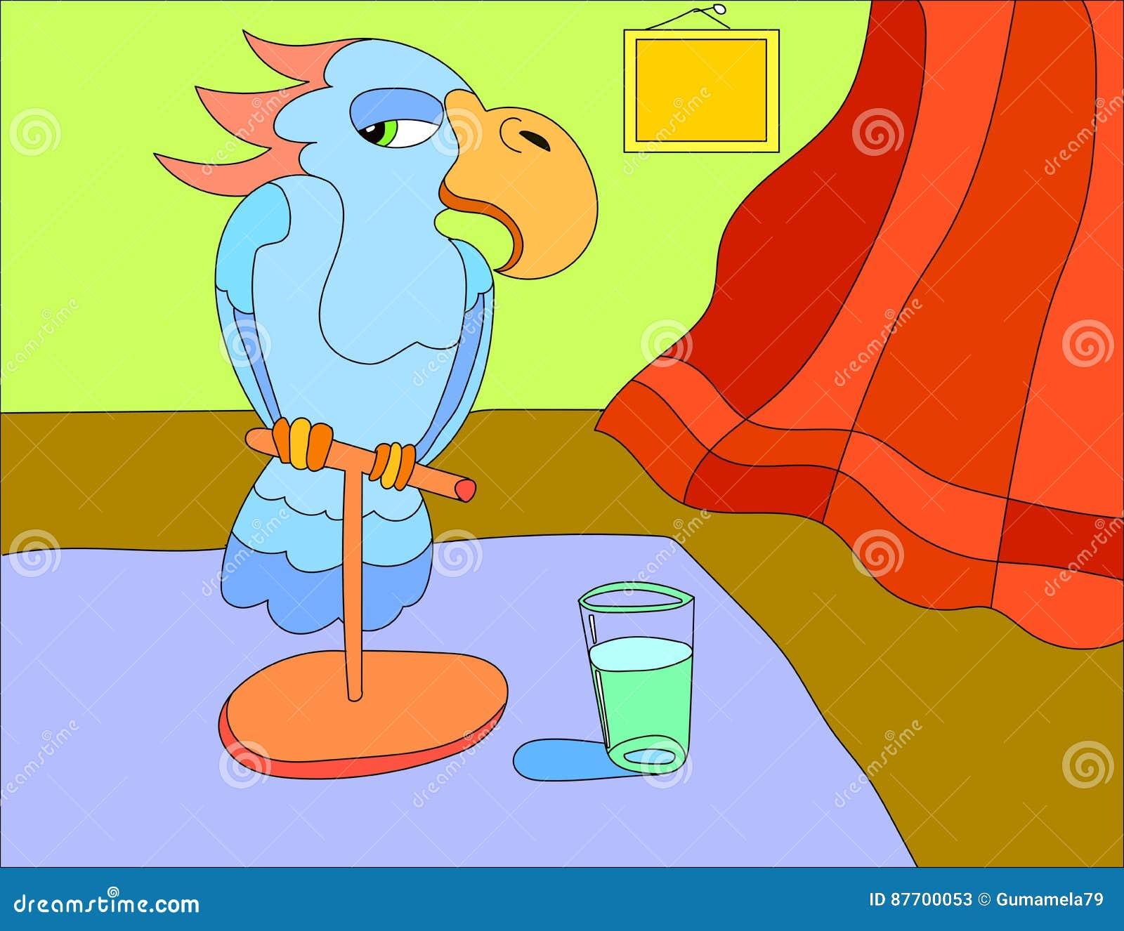 Fond d illustration colorée d un oiseau de perroquet