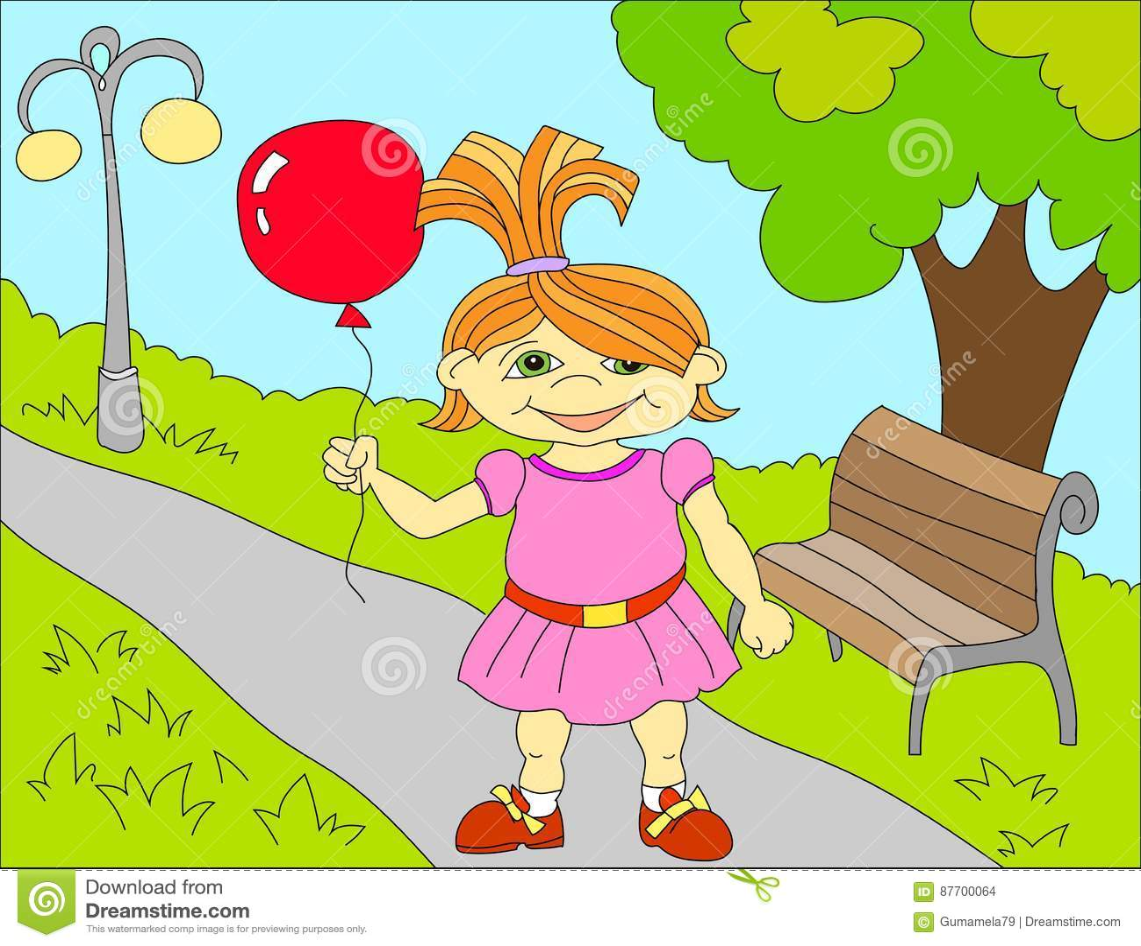 Fond d illustration colorée d une petite fille heureuse