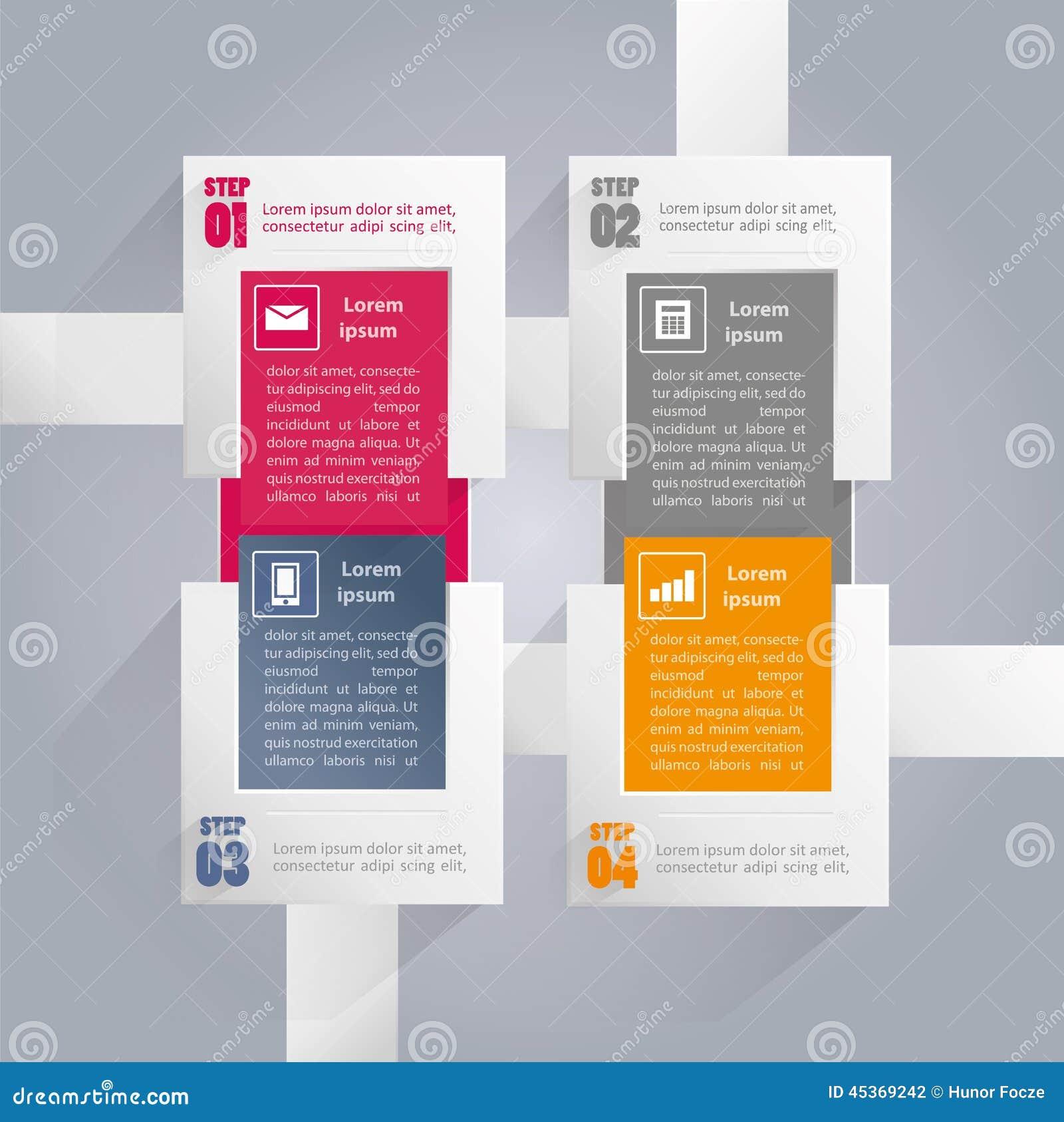 Fond d Infographics avec les éléments rectangulaires - quatre étapes