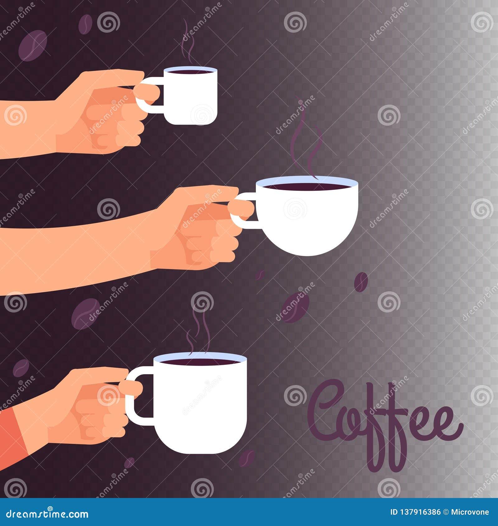 Fond de bannière de vecteur de café avec des mains tenant des tasses de boisson chaude