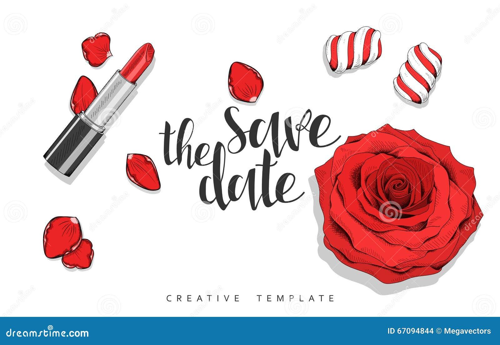 Fond de beauté avec des roses, pétales, bonbons Calibre élégant en rouge