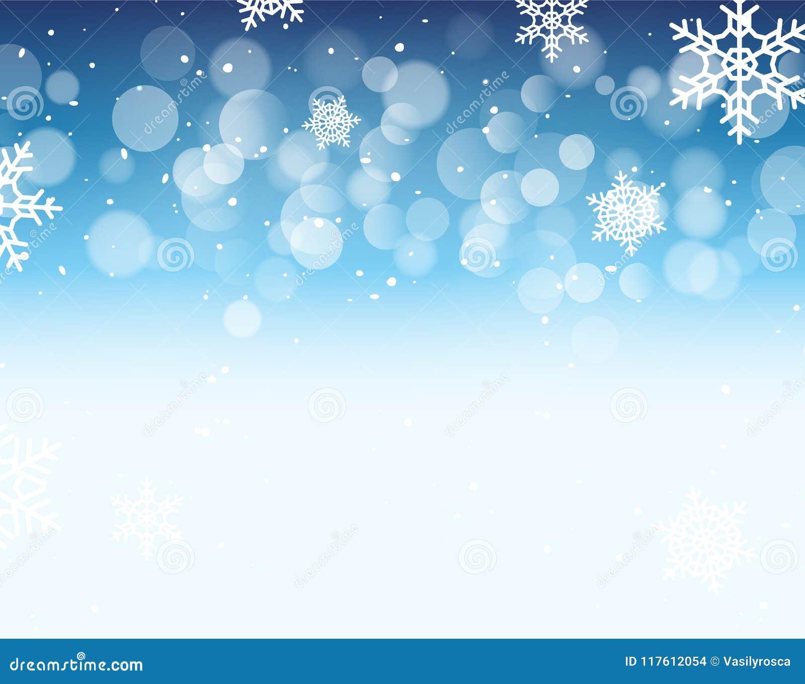 Fond de bokeh d hiver avec des flocons de neige Décoration de vacances de bokeh de Noël