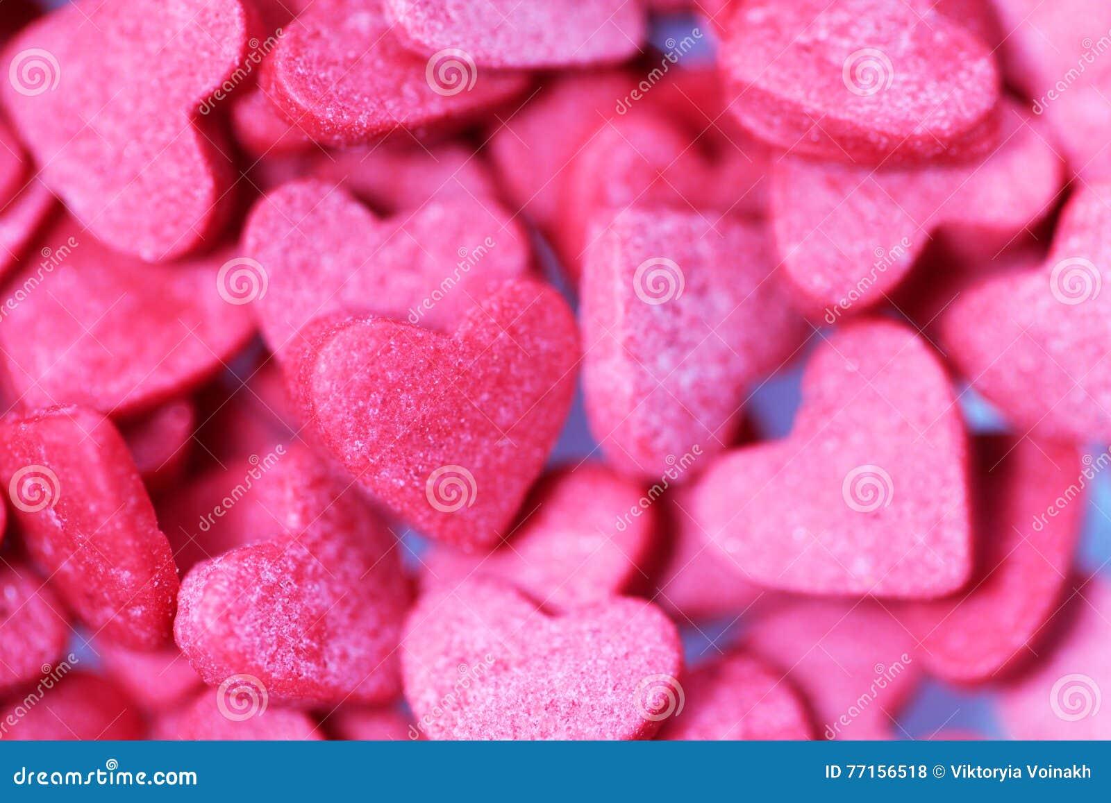 Fond de bonbons à coeurs