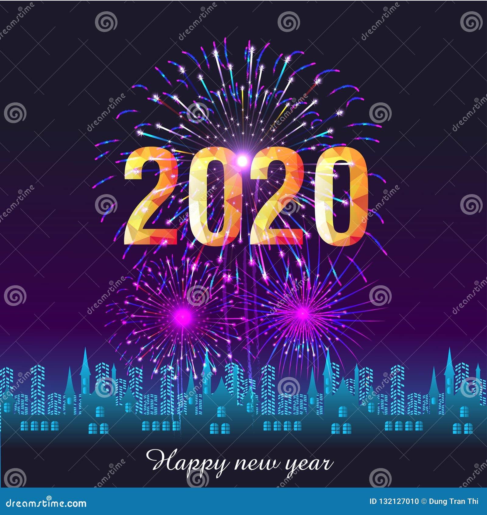 Calendrier Feu D Artifice 2020.Fond 2020 De Bonne Annee Avec Des Feux D Artifice