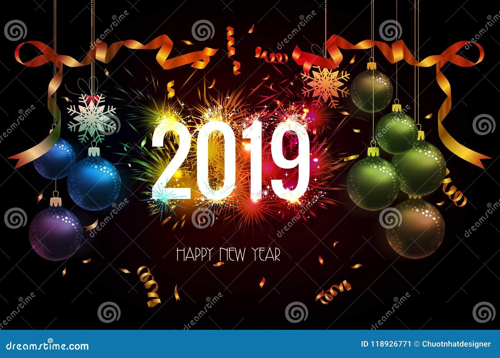 Fond 2019 de bonne année avec de l or et le feu d artifice de confettis de Noël