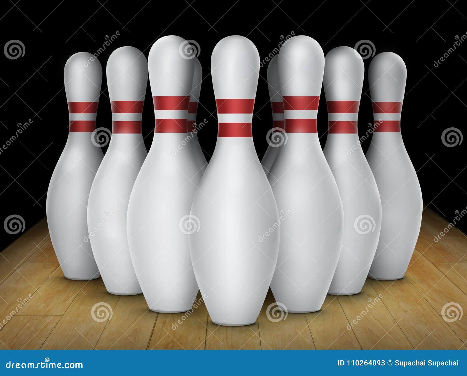 Fond de bowling de Dix bornes Plan rapproché de rangée de quille sur une ruelle, lumière de nuit