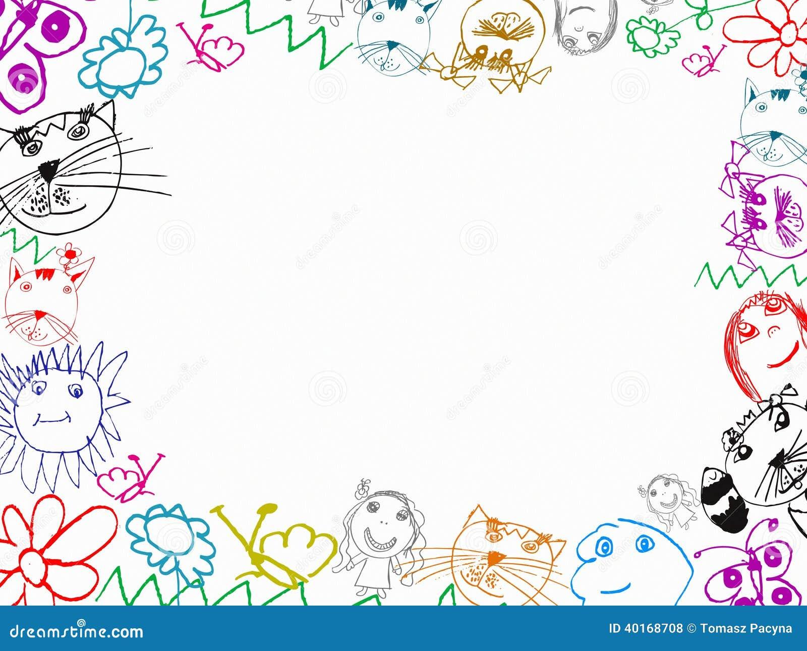 fond de cadre de dessins des enfants color s illustration stock image 40168708. Black Bedroom Furniture Sets. Home Design Ideas