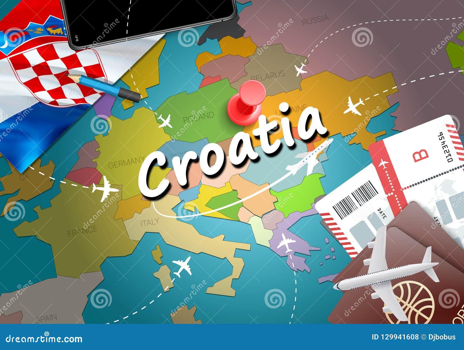 Fond De Carte Concept Voyage La Croatie Avec Des Avions Billets Visite Et Destination Tourisme Drapeau