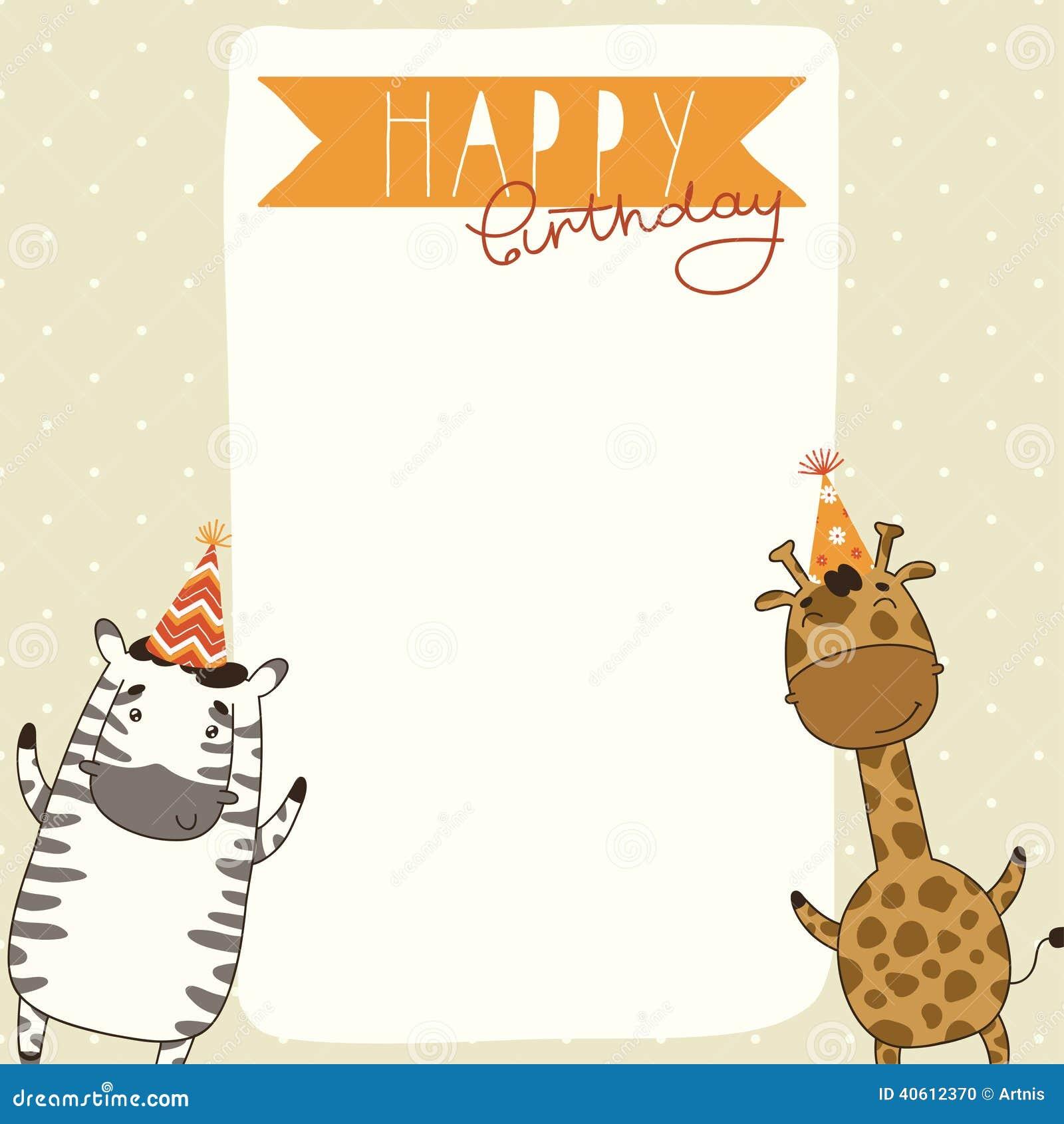 Carte Anniversaire Zebre.Fond De Carte De Joyeux Anniversaire Avec Le Zebre Et La