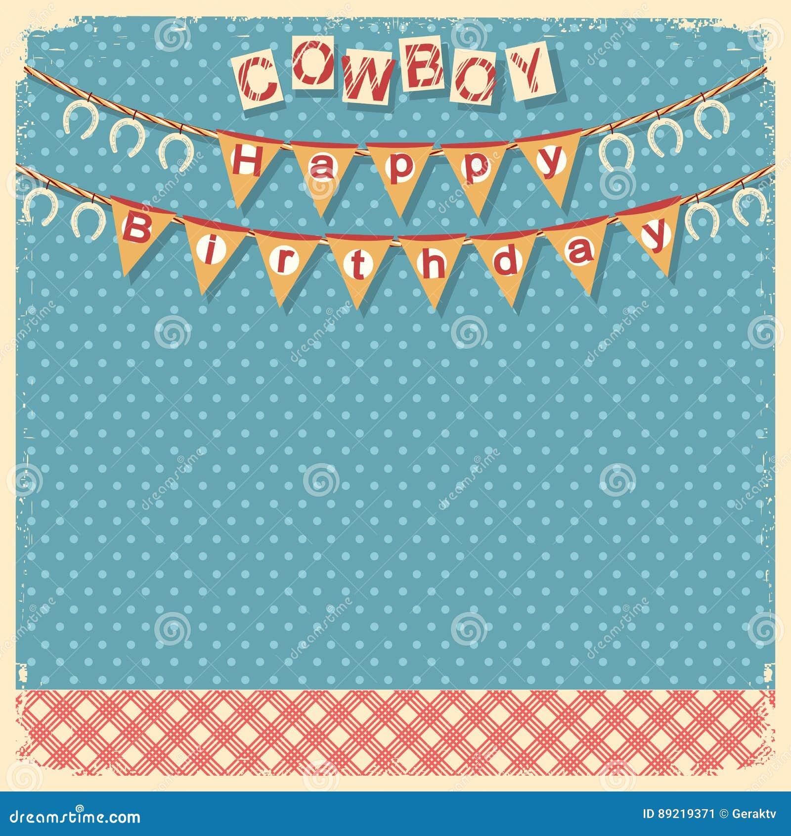 Fond De Carte De Joyeux Anniversaire De Cowboy Pour La Conception Illustration De Vecteur Illustration Du Fond Cowboy 89219371