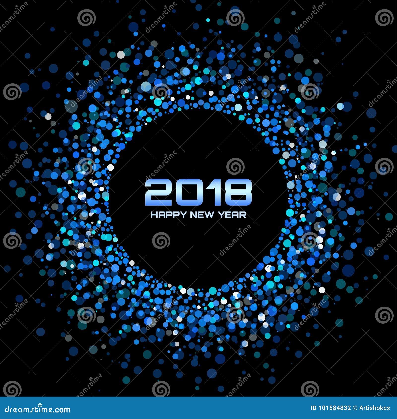 Fond de carte de la bonne année 2018 de vecteur La disco lumineuse bleue allume le cadre tramé de cercle