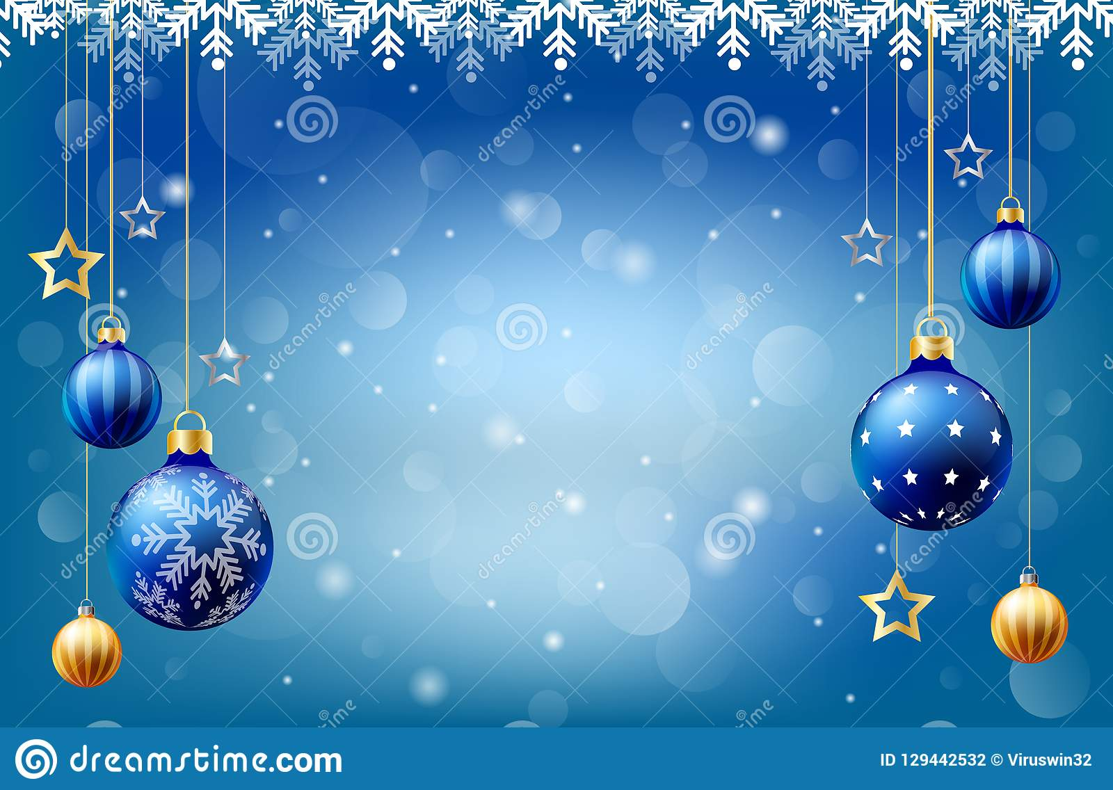 Fond de chute de neige de boule de Noël de bonne année, boîte de saisie des textes, fond bleu