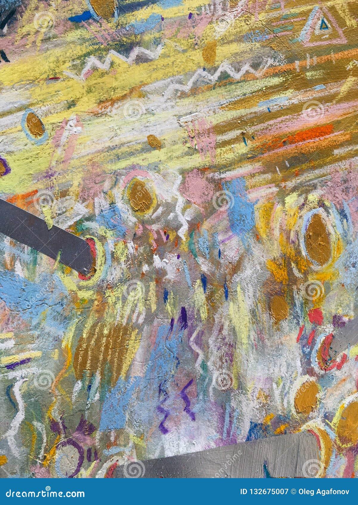 Fond de ciel d or d expressionisme Texture de peinture à la mode