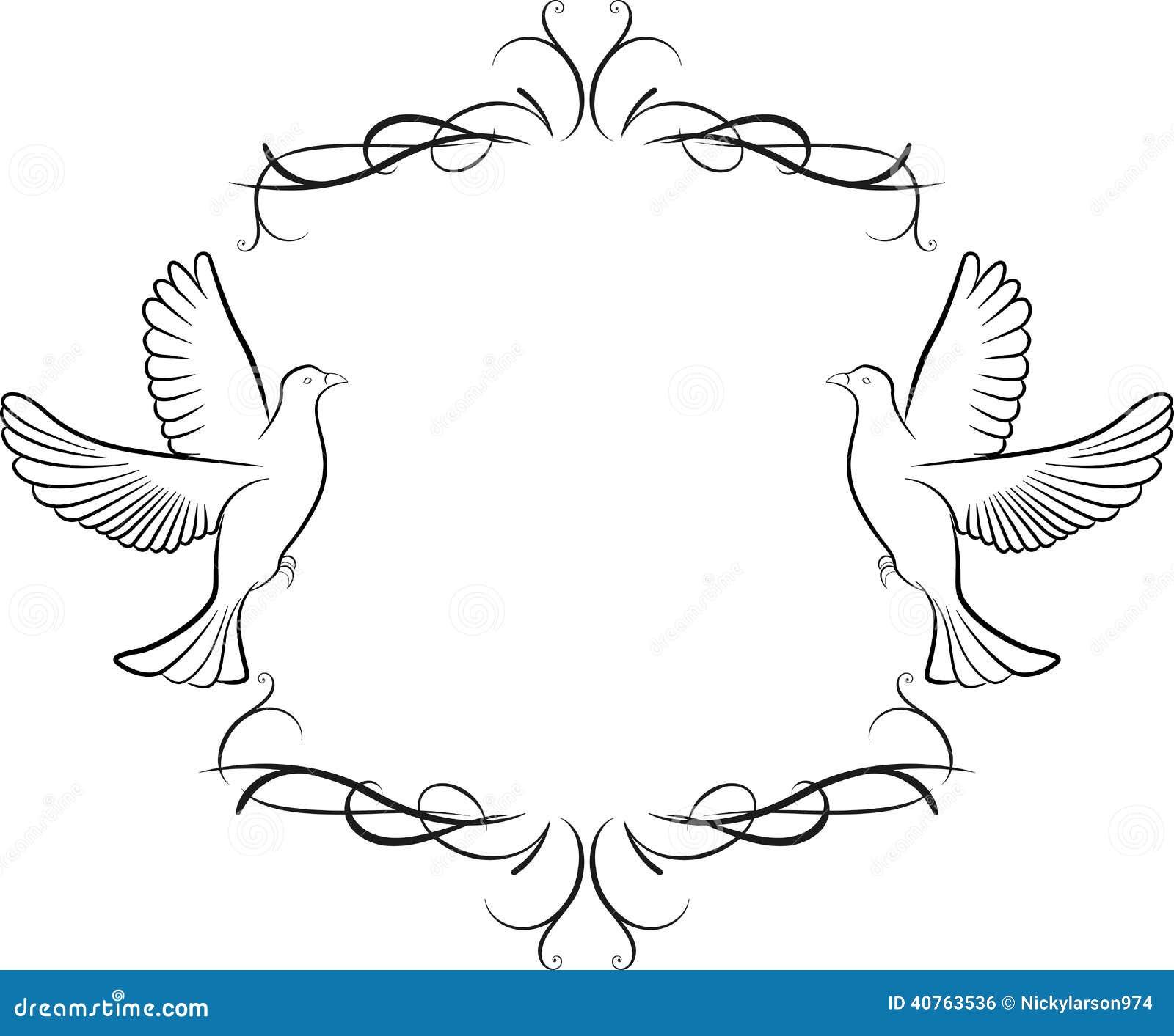Fond de colombe et de cadre illustration de vecteur - Colombe en dessin ...