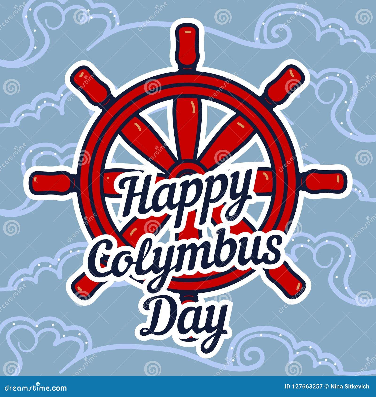 Fond de concept de roue de bateau de jour de Columbus, style tiré par la main