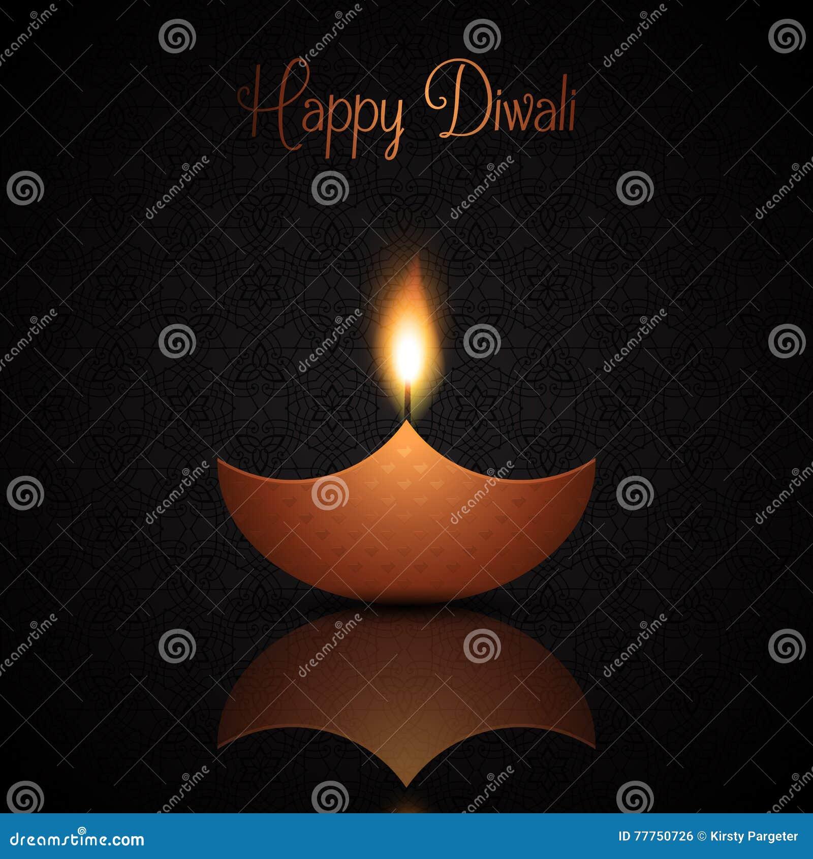 Fond de Diwali avec la lampe à pétrole brûlante