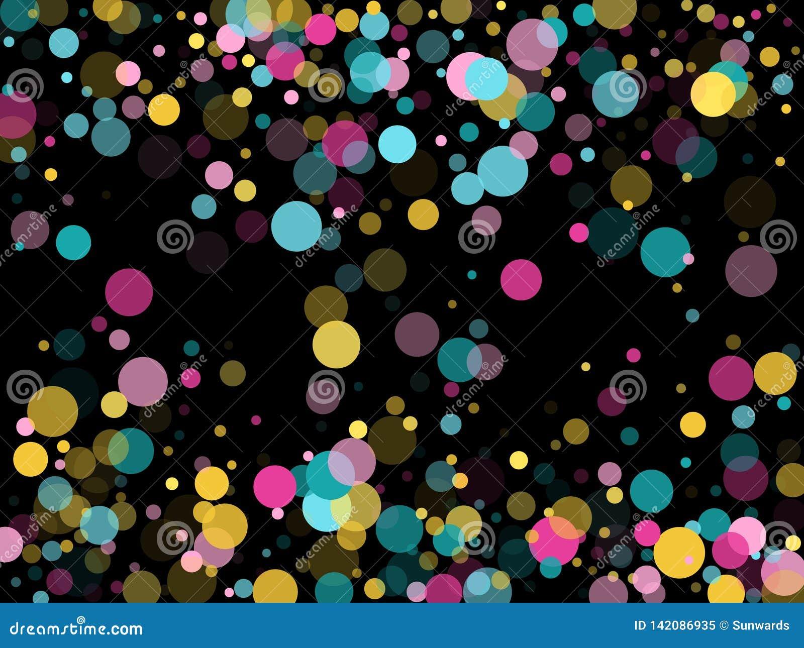 Fond de fête de confettis ronds de Memphis dans bleu, rose cyan et jaune Vecteur puéril de modèle